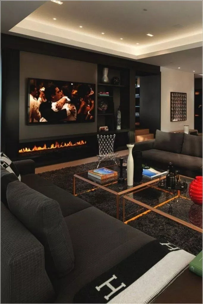 Adorable Black Living Room Ideas That Looks Cool23
