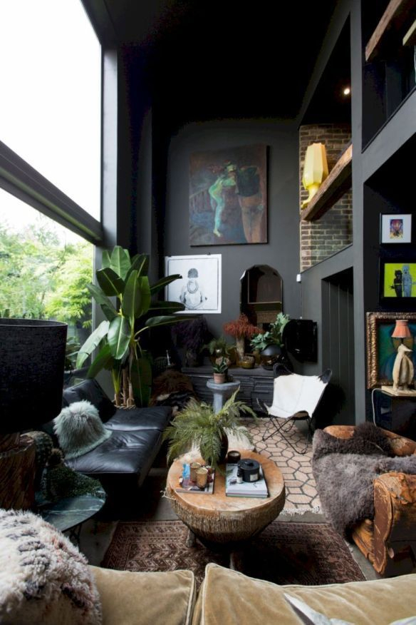 Adorable Black Living Room Ideas That Looks Cool39
