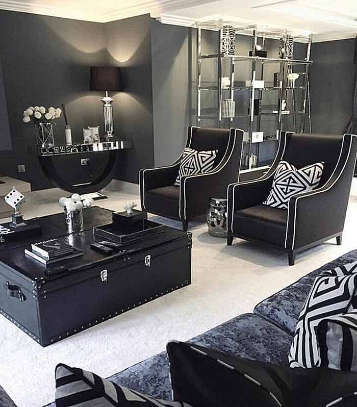 Adorable Black Living Room Ideas That Looks Cool46