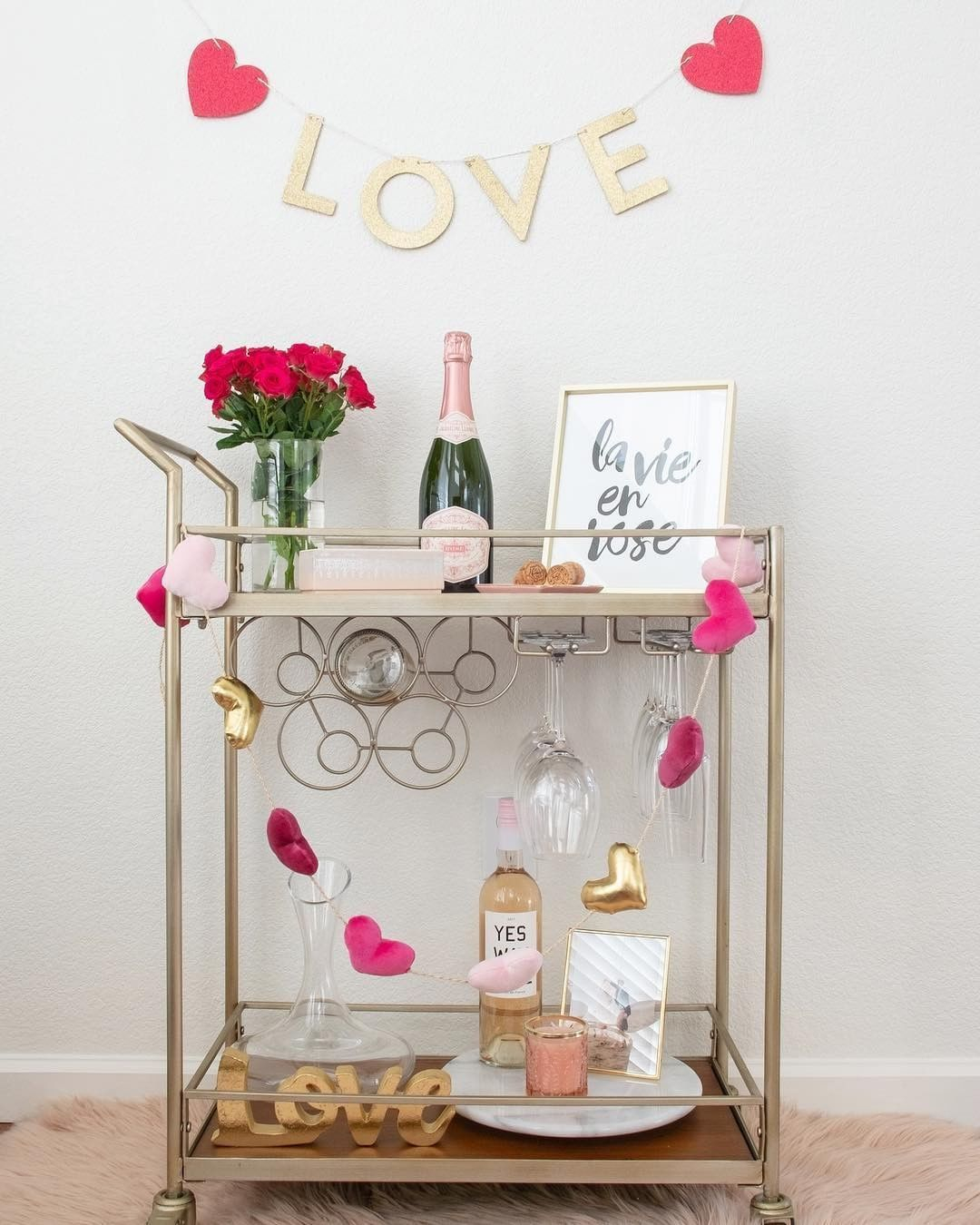 Sophisticated Bar Carts Ideas For Valentine Décor To Try Asap13