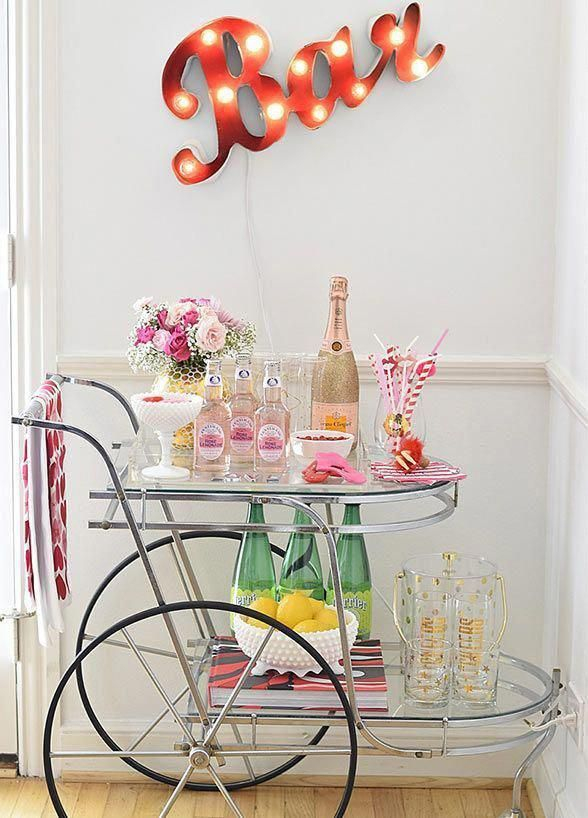 Sophisticated Bar Carts Ideas For Valentine Décor To Try Asap22