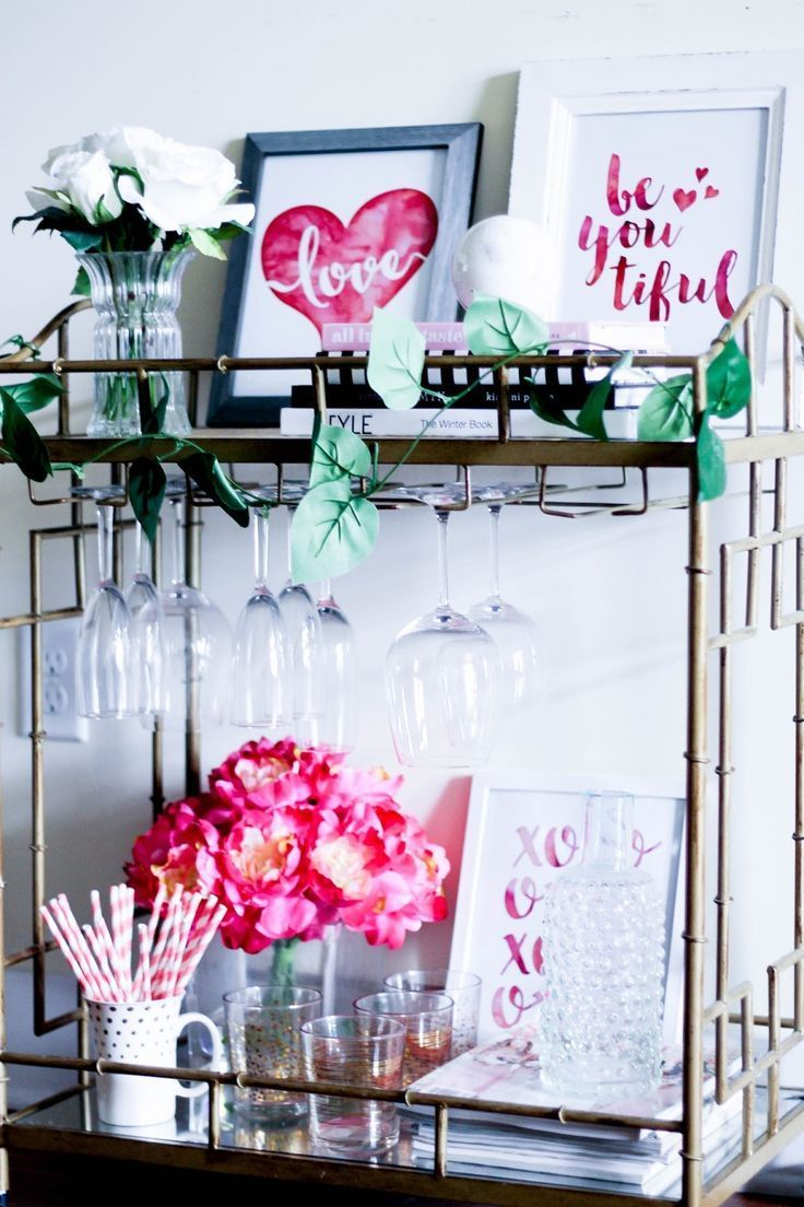 Sophisticated Bar Carts Ideas For Valentine Décor To Try Asap26