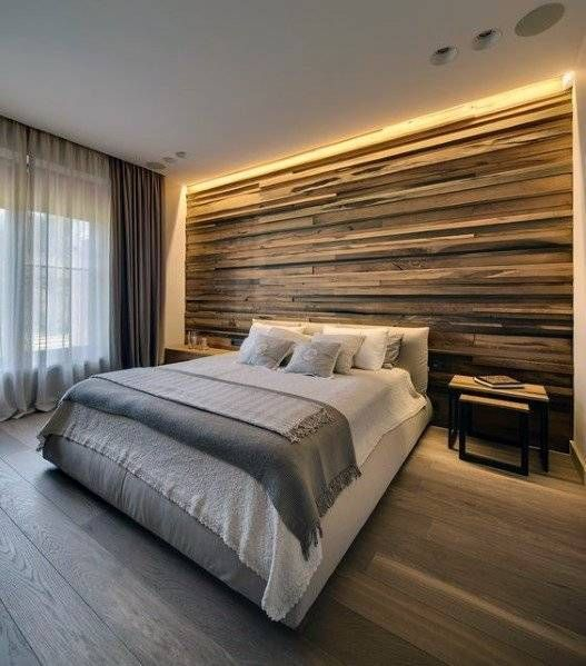 Newest Bedroom Design Ideas That Featuring With Wooden Panel Wall12