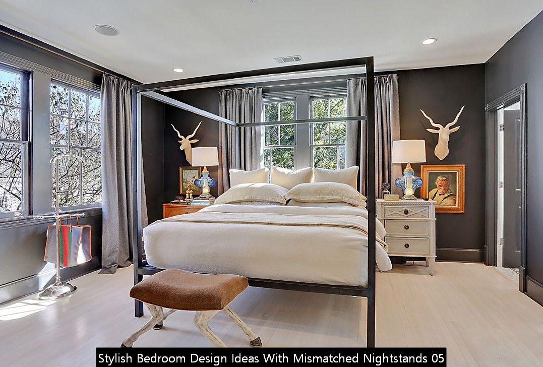 Stylish Bedroom Design Ideas With Mismatched Nightstands 05