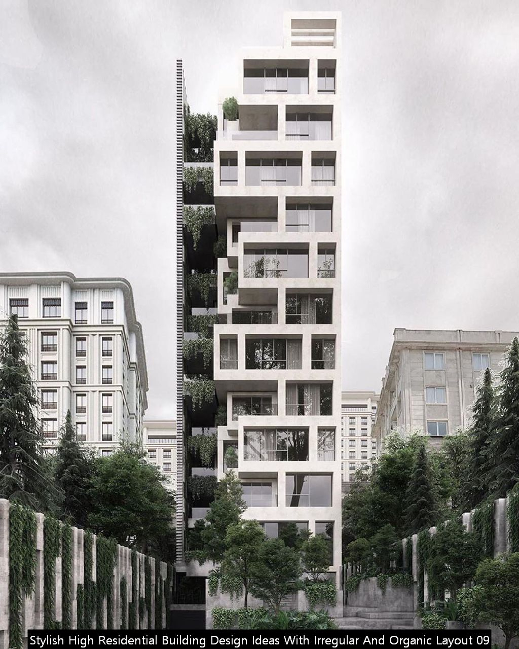 Stylish High Residential Building Design Ideas With Irregular And Organic Layout 09