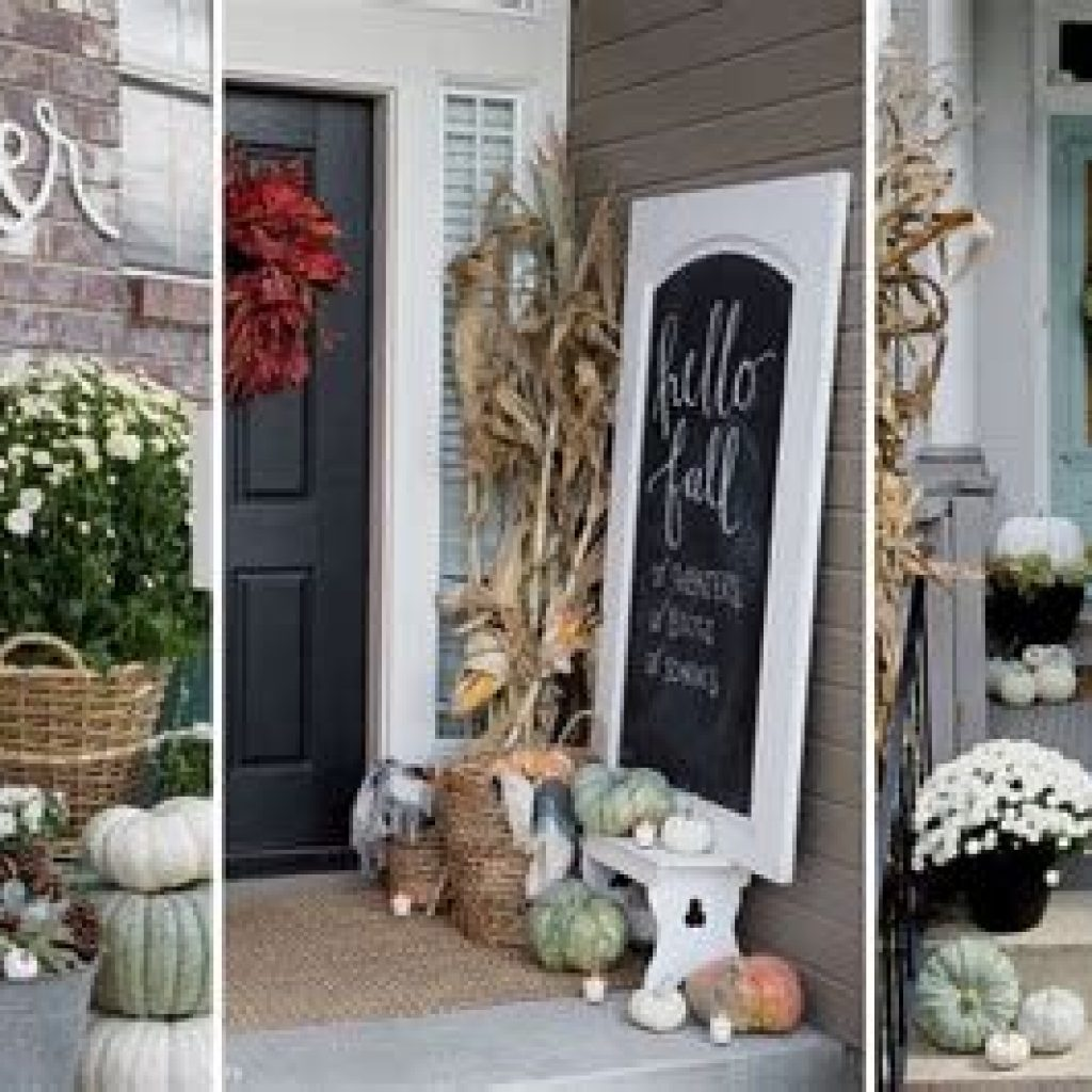 Beautiful Fall Farmhouse Decor Idea For Front Porch 32