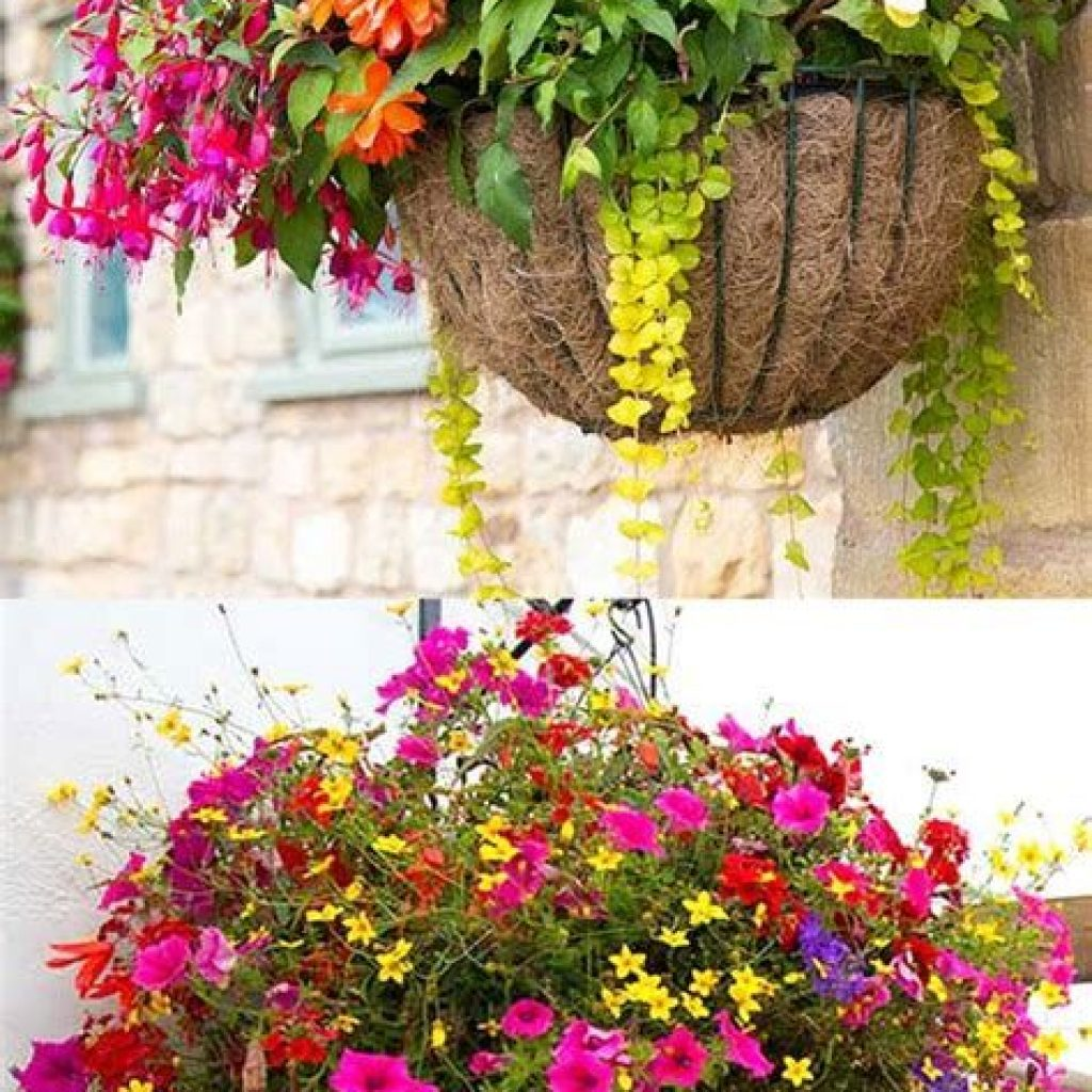 Creative Blooming Hanging Baskets For Garden Year Round 36