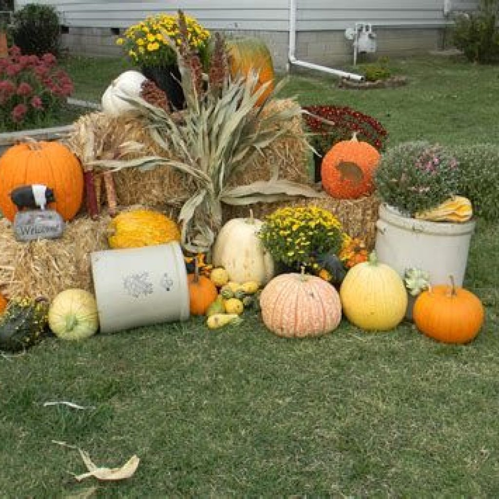 Simple But Beautiful Fall Decoration In The Front Yard 13