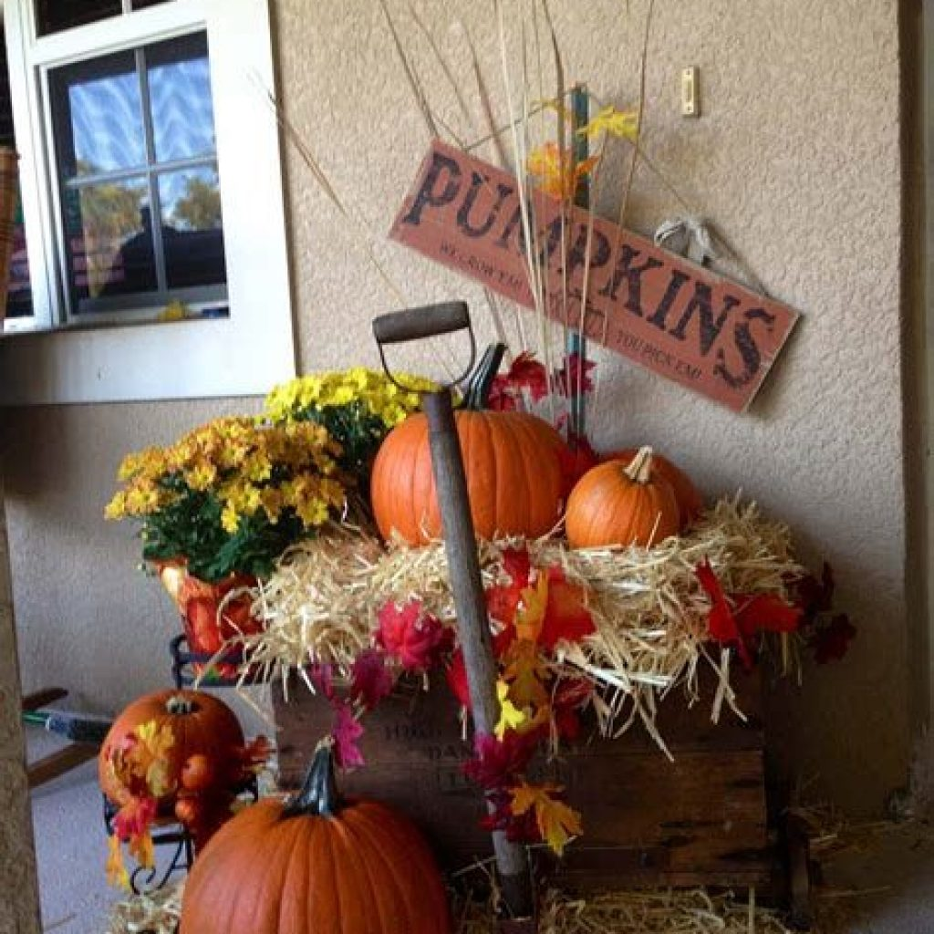 Simple But Beautiful Fall Decoration In The Front Yard 22