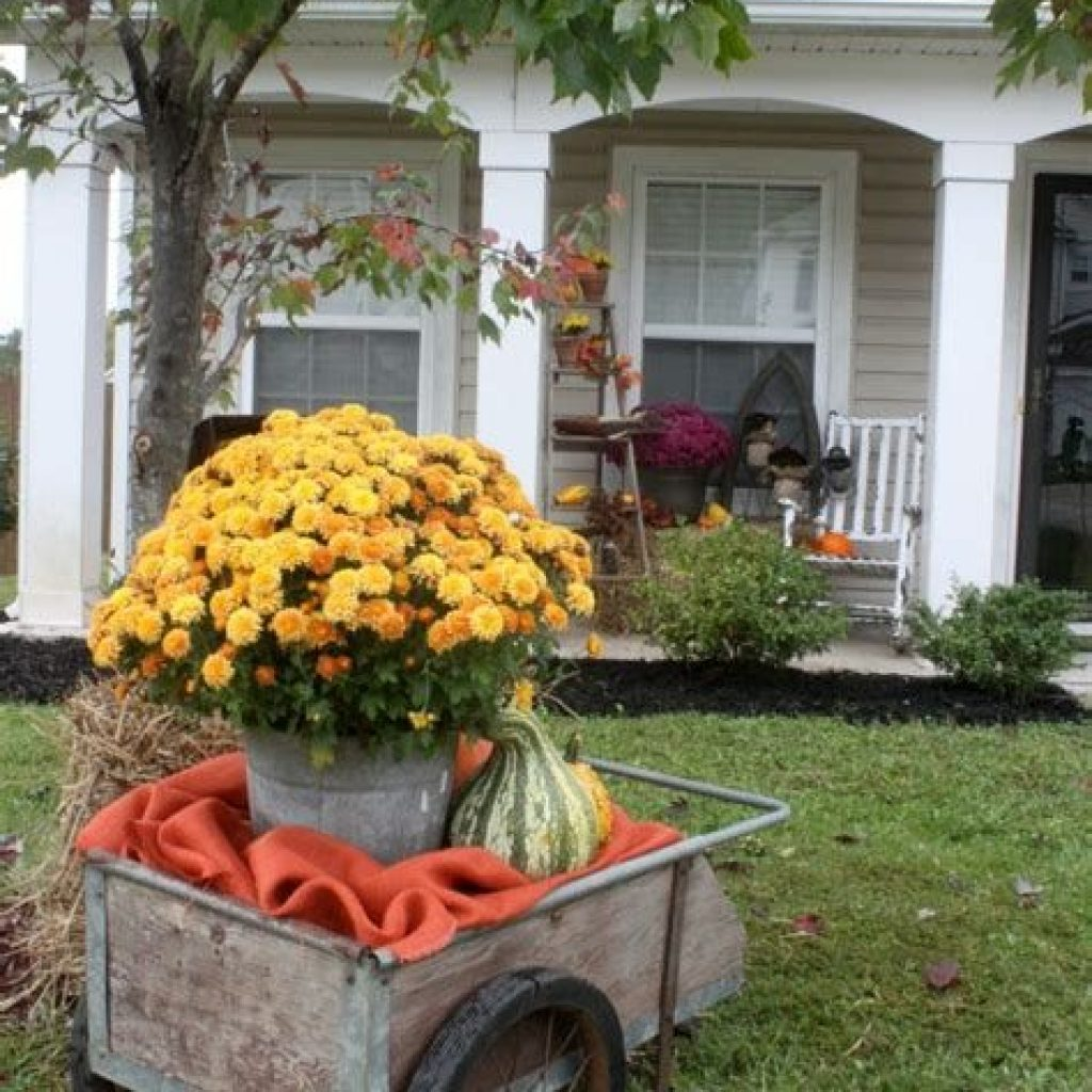 Simple But Beautiful Fall Decoration In The Front Yard 42