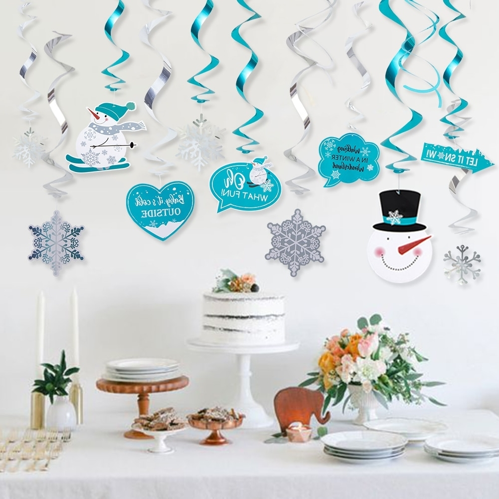 20pcs Winter Wonderland Party Swirls Hanging Decorations Carnival Snowflake Ceiling Whirls Birthday Ba Shower Christmas