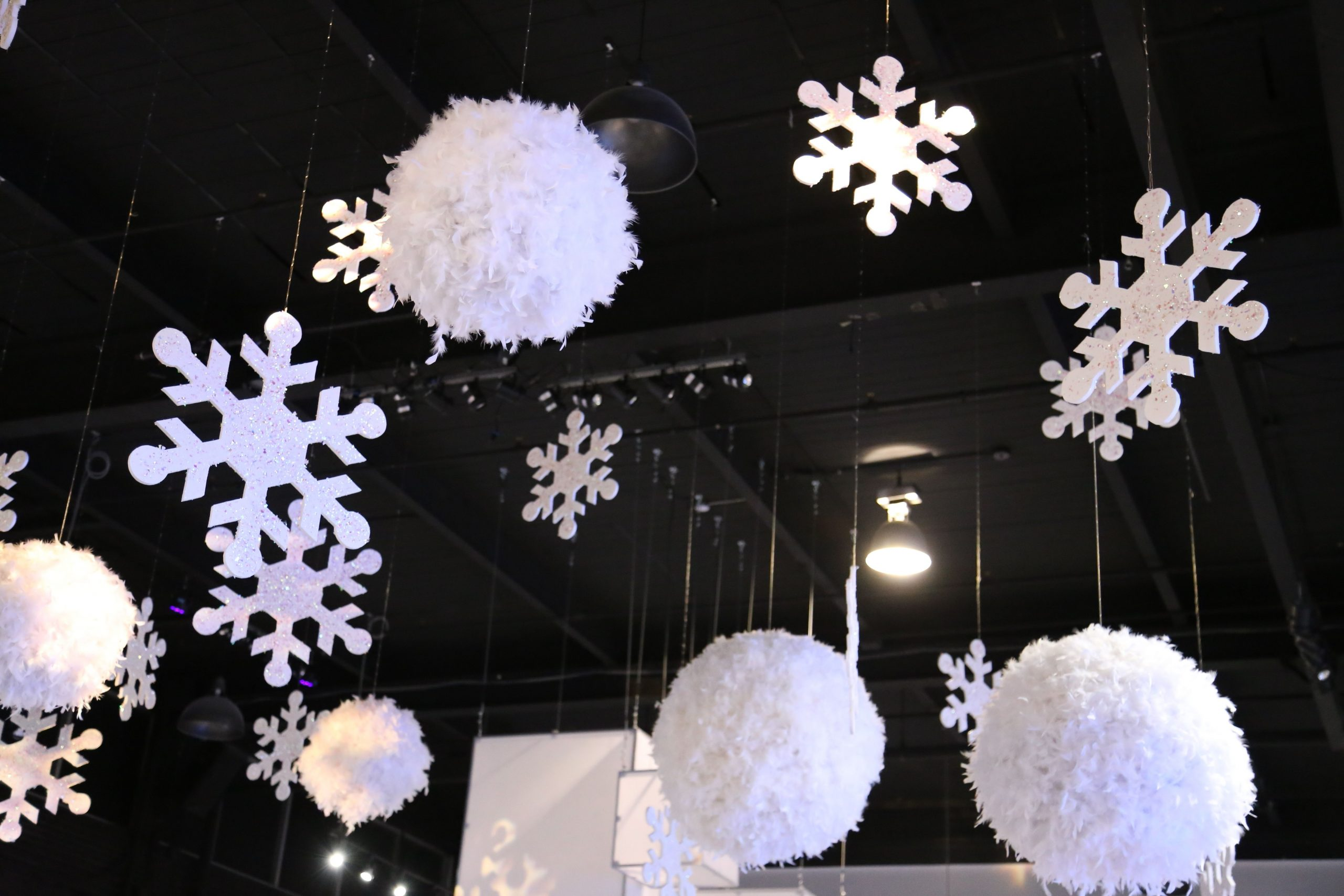 Ceiling Decor Hanging Snowflakes Hanging Snowballs