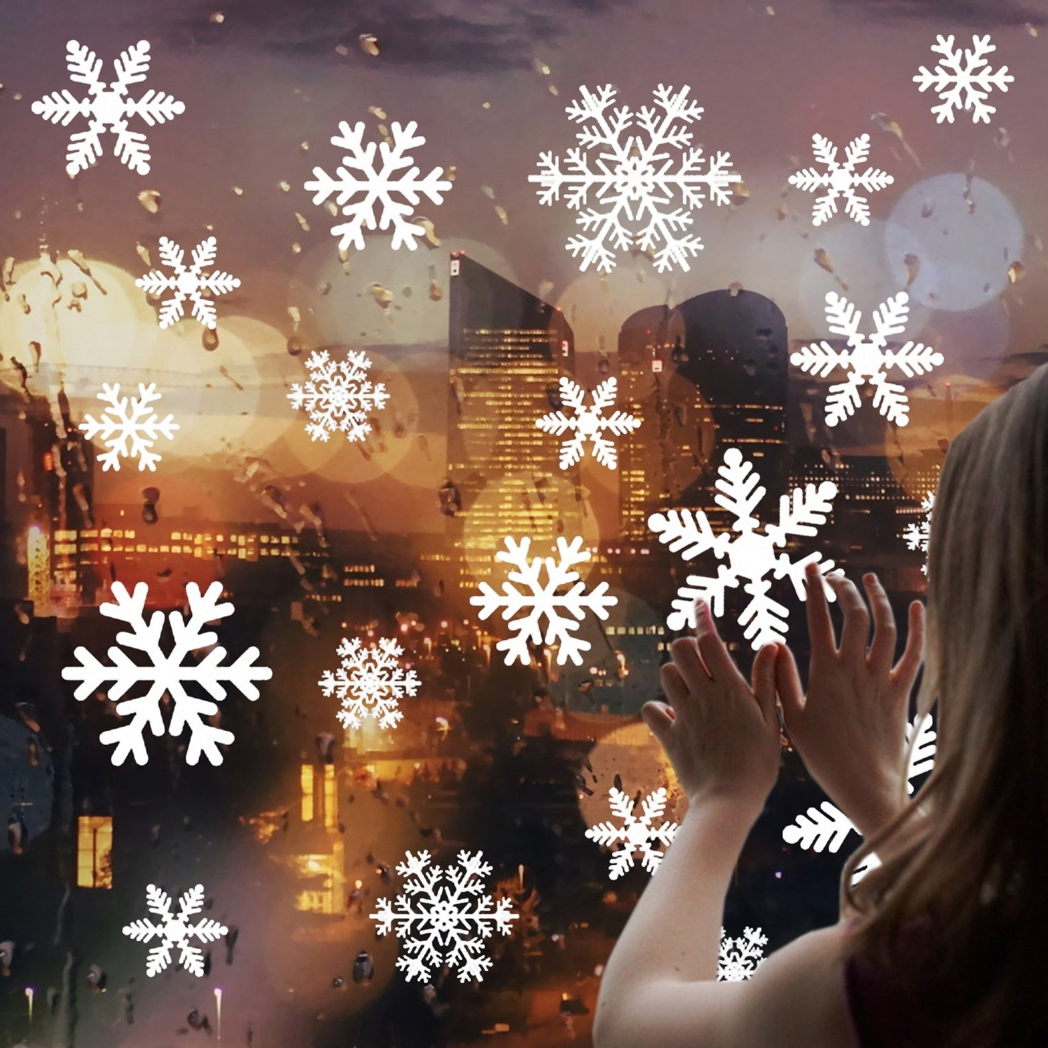 Christmas Snowflake Window Stickers Clings Decorations White Christmas Window Decals For Kids Winter Decorations