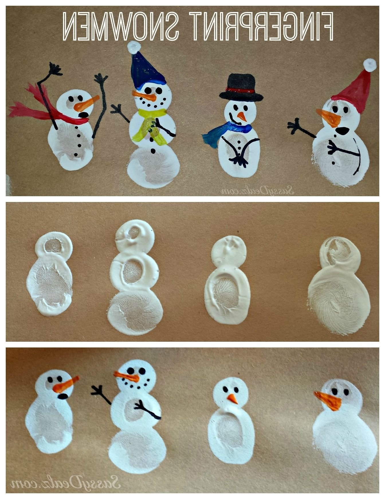 Diy Fingerprint Snowman Winter Craft For Kids Winter