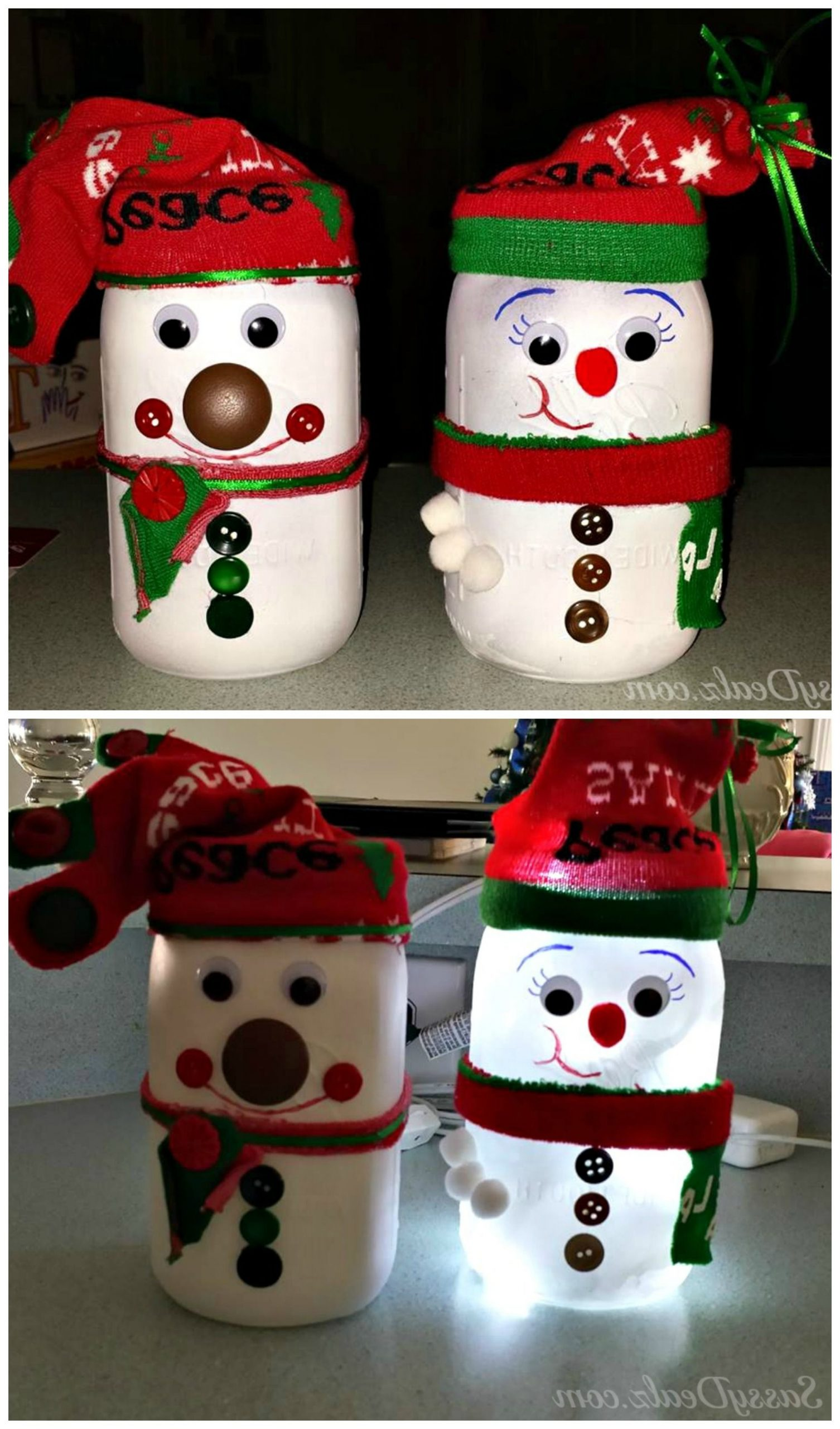 Diy Snowman Mason Jar Craft For Kids Light Decoration