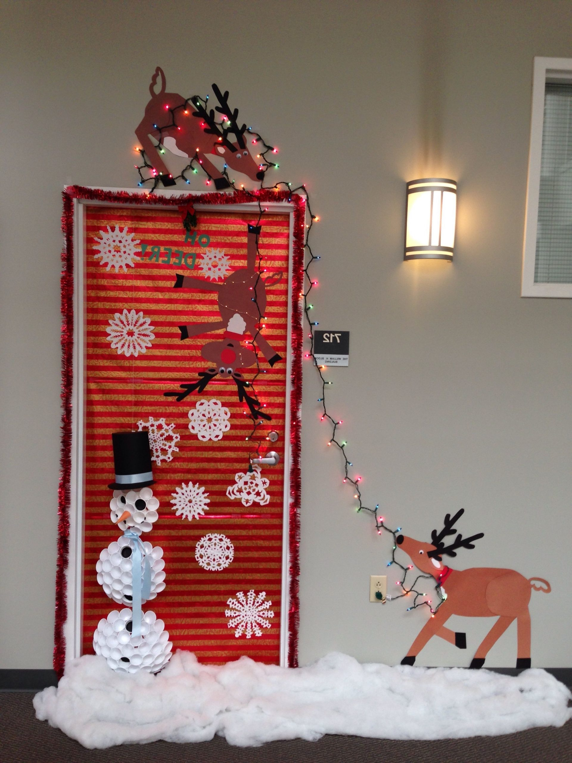 Our Christmas Door Decoration First Place Made Snowman