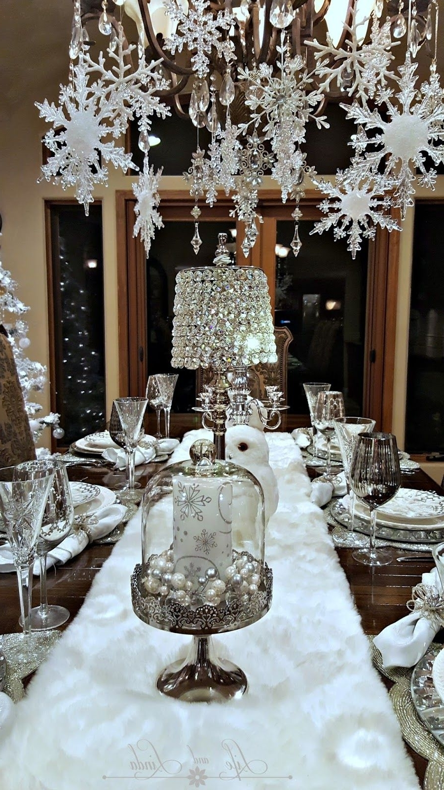 Snowflakes And Baubles Tablescape Christmas Chandelier