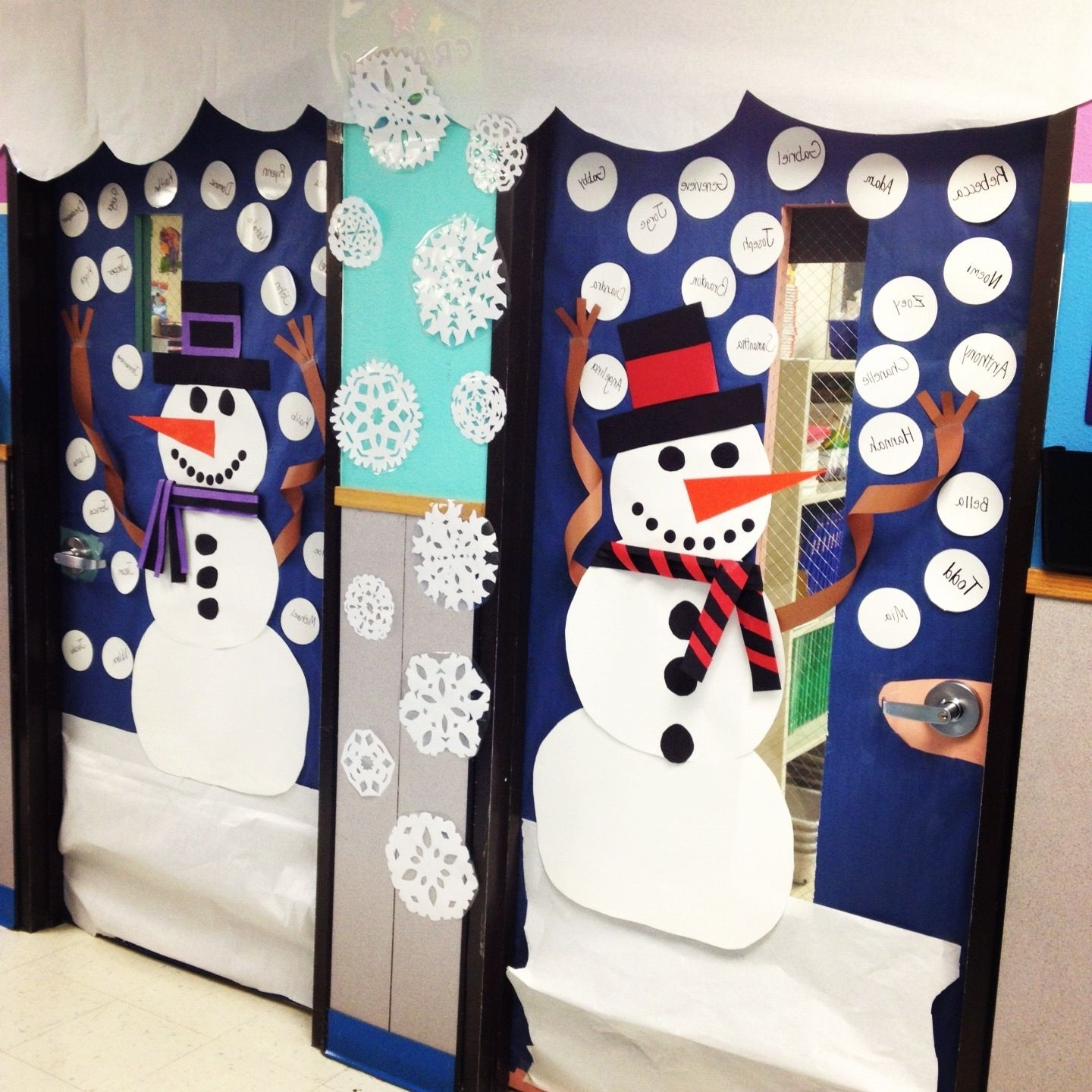 Snowman Classroom Door Decor For Winter School Door