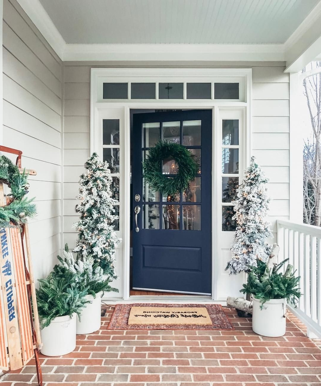Southern Front Porch Decorated For Winter And Christmas With