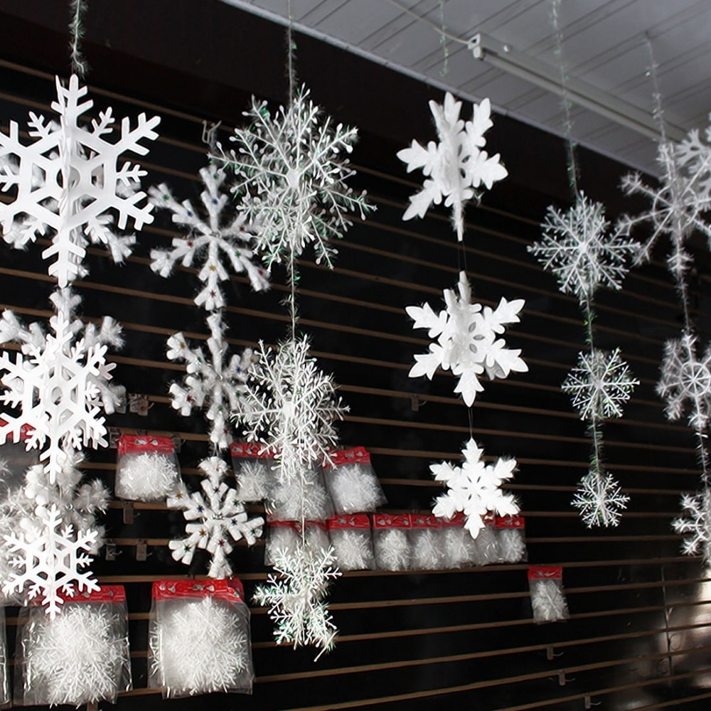 Us 302 30 Off30pcs Christmas Snowflake Window Sticker Winter Wall Stickers Kids Room Christmas Decorations For Home New Year Stickersartificial