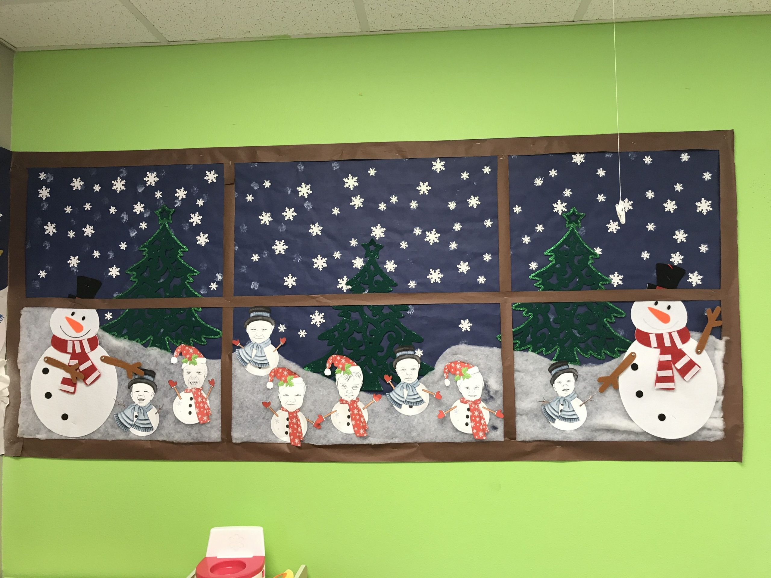 Window Of Winter And Class Of Toddlers As Little Snowmen