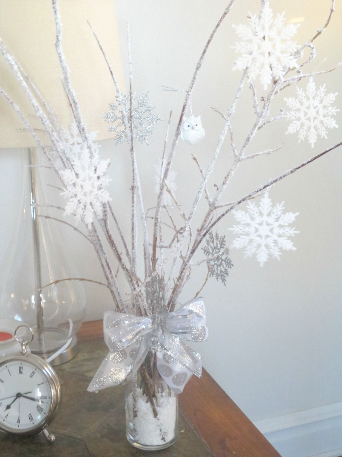 Winter Wonderland Centerpieces With Diy Icy Branches