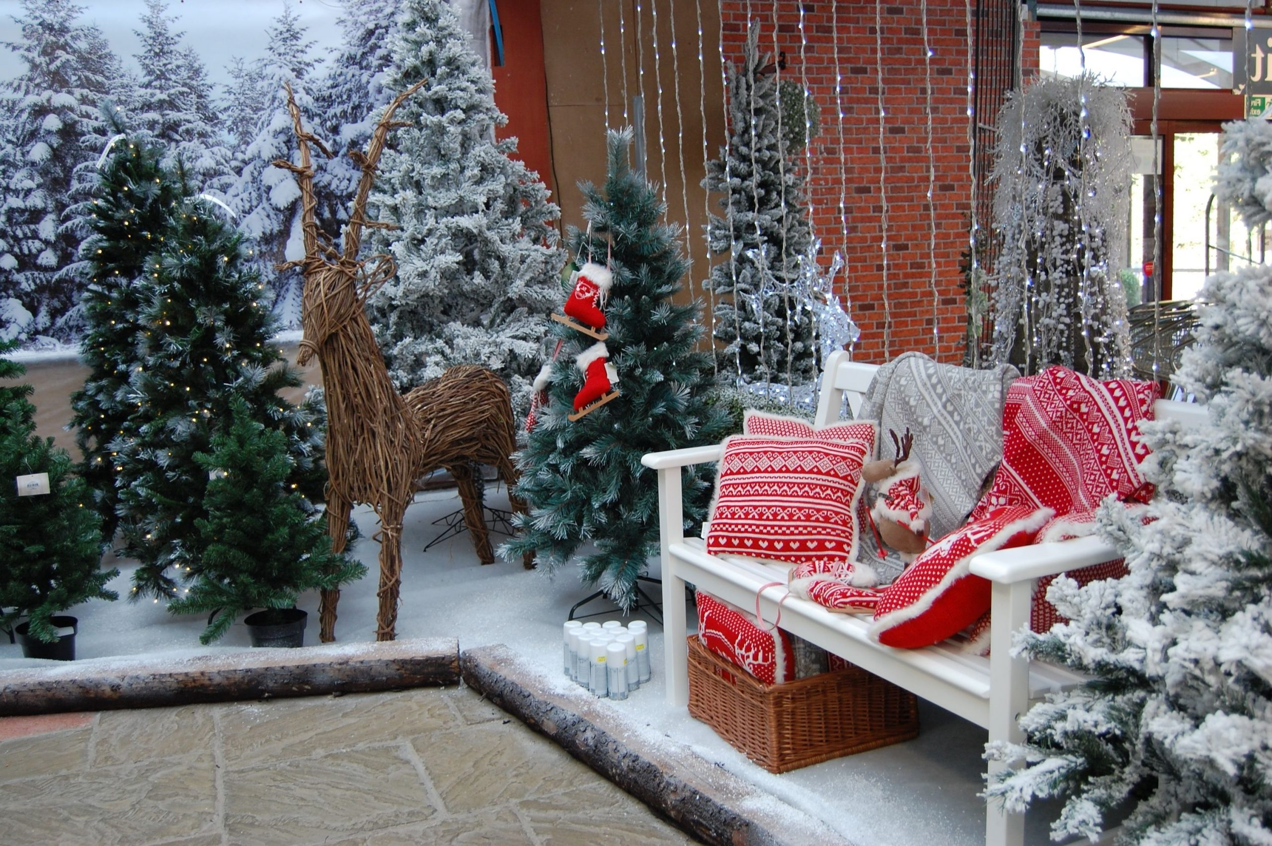 Winter Wonderland With Artificial Trees Christmas Display