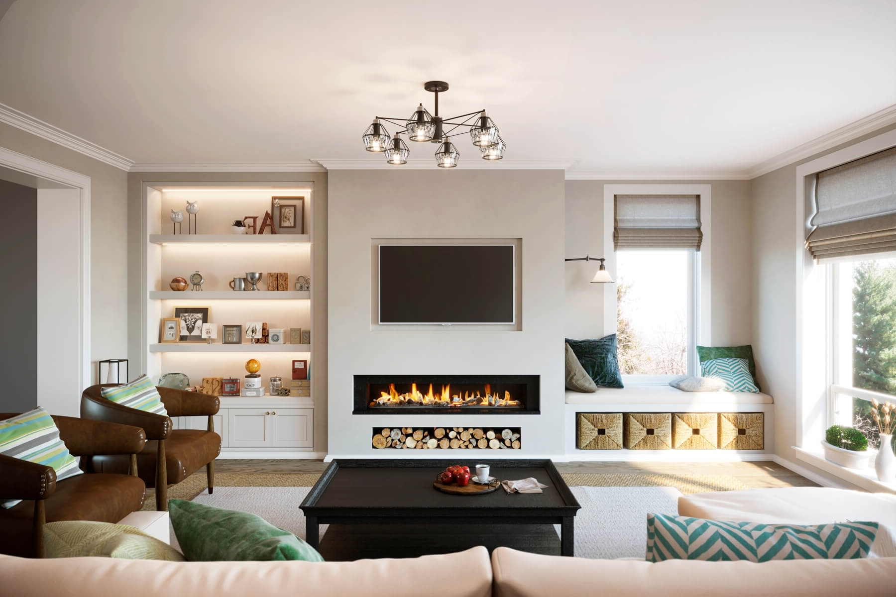 1 False Breast With Granite Inlays, Log Store And Tv Recess Living Room Chimney Breast