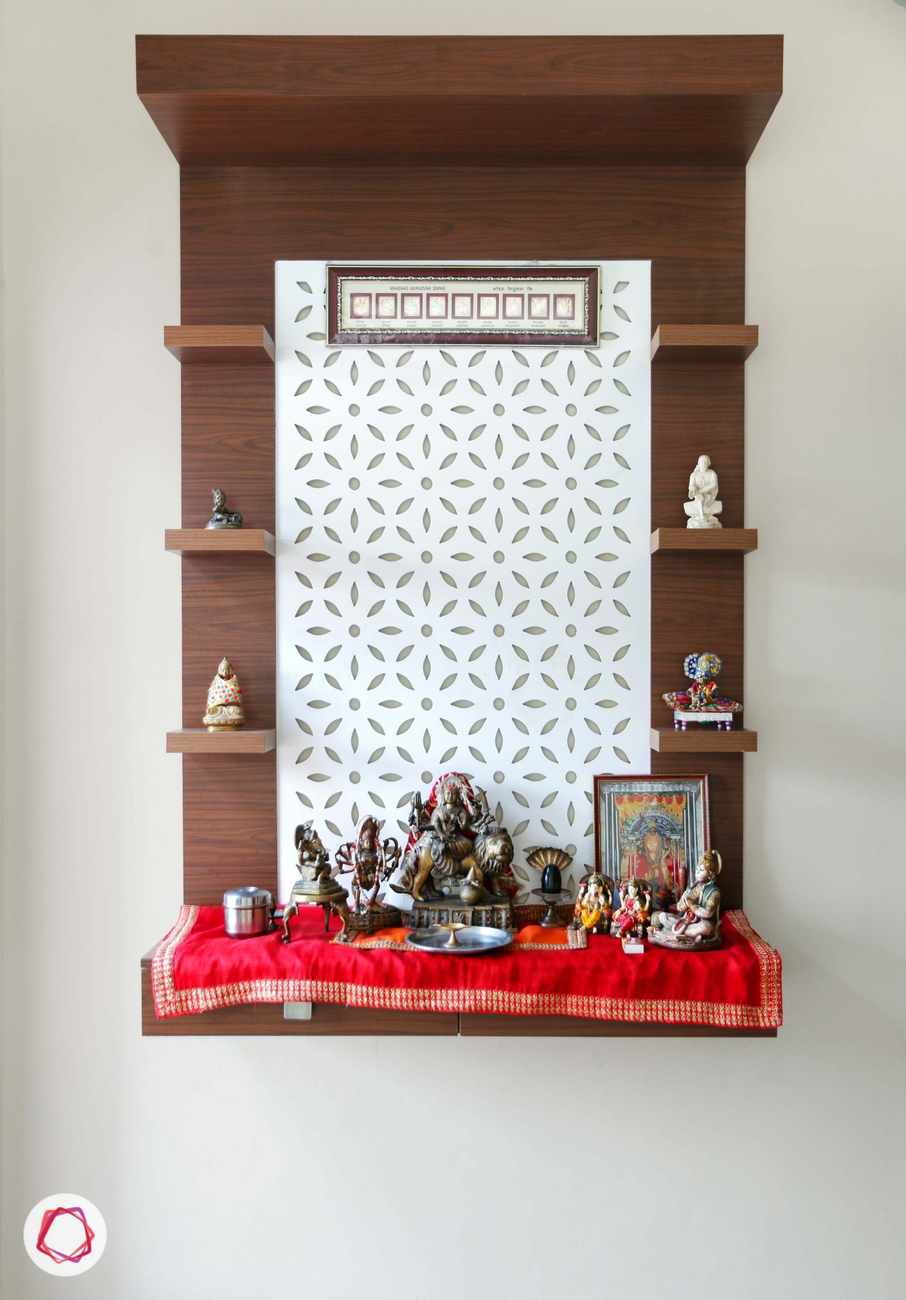 11 Small Pooja Room Designs (With Dimensions) For Your Home Pooja Shelf In Living Room