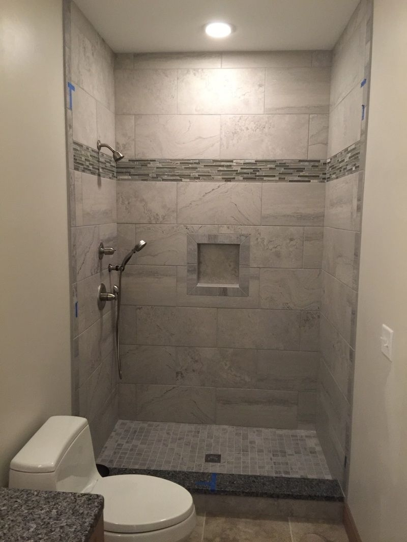 12X24 Grey Wall Tiles, Shower Niche, 2X2 Mosaic Floor, Glass 40+ 2X2 Bathroom Design Ideas