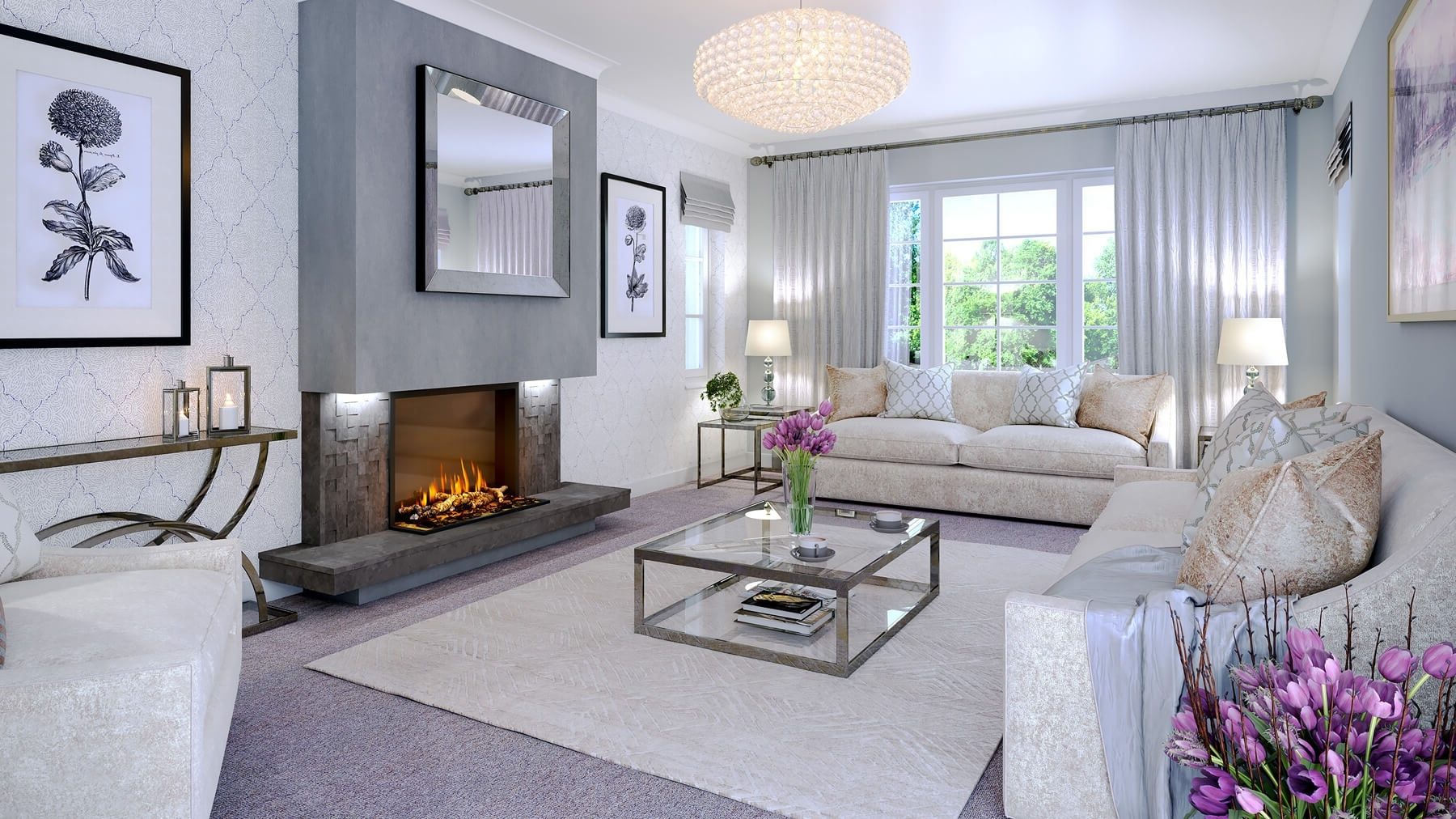 14 False Breast With Grey Mosaic Tiles And Floating Hearth 30+ Small Living Room With Chimney Breast Inspirations