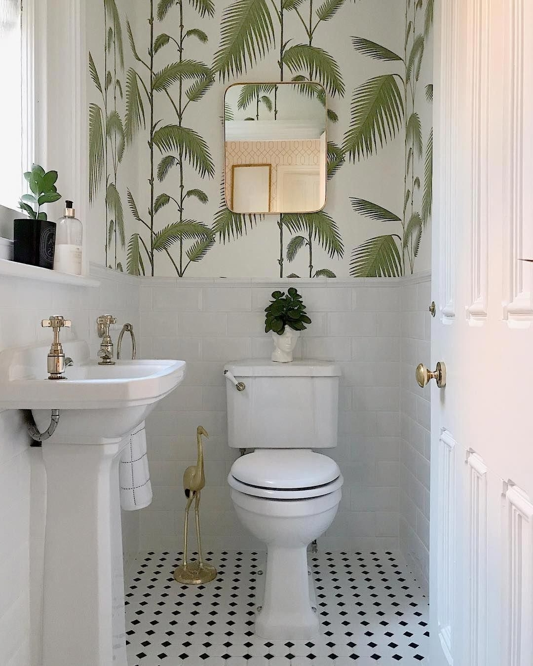 A Beautiful White Bathroom With Gold Accessories And 10+ Downstairs Bathroom Wallpaper Inspirations