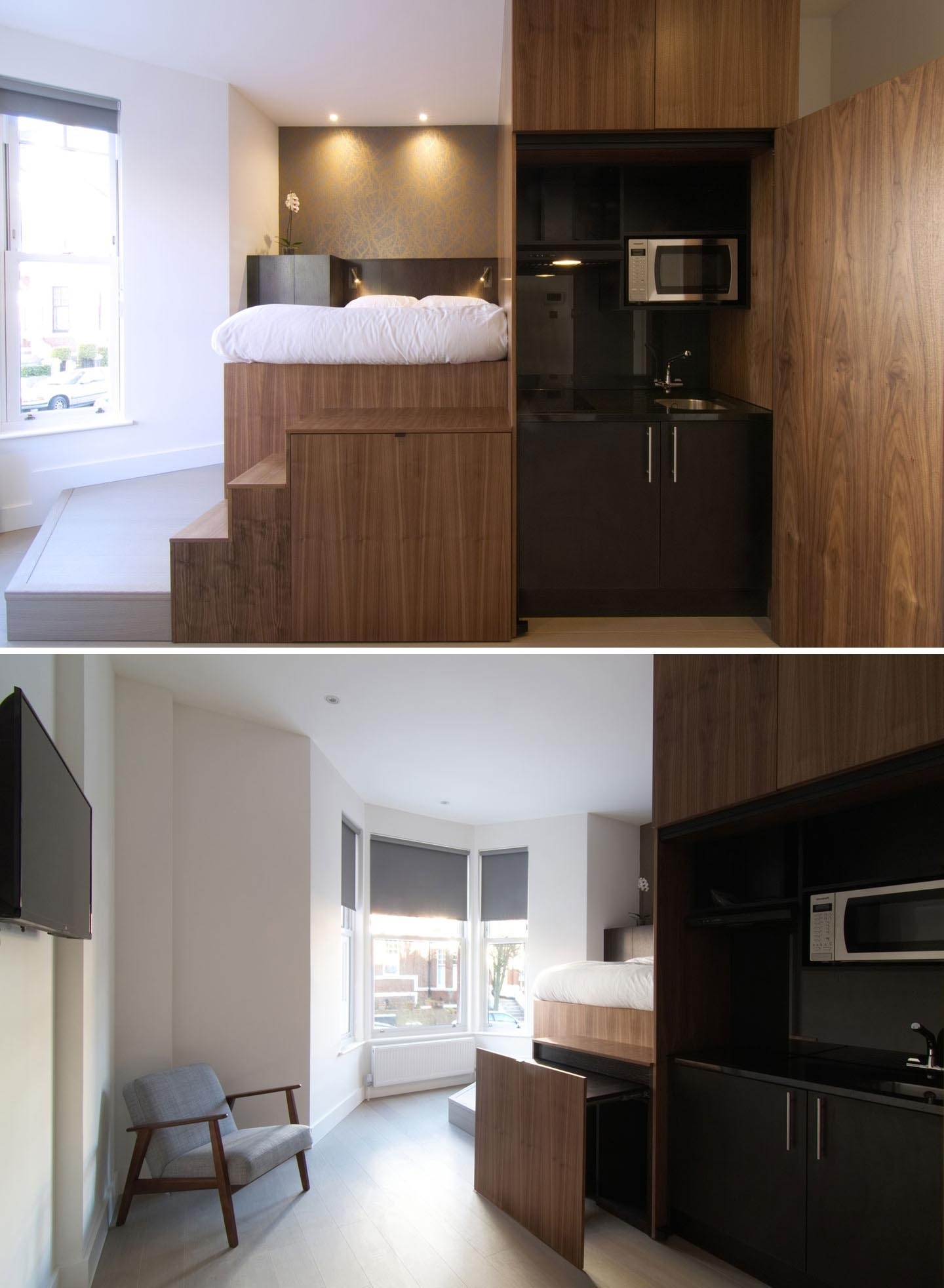 A Loft Bed Made Space For Extra Storage In This Small Apartment 18 Sqm Apartment Design