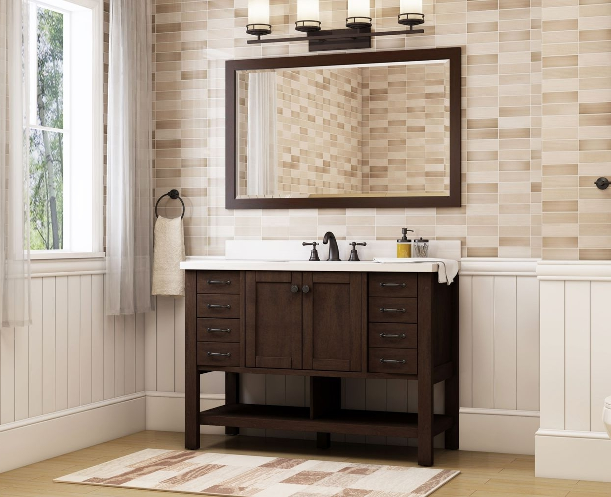 Allen + Roth Kingscote 48 In Espresso Single Sink Bathroom Vanity With White Engineered Stone Top Allen Roth Bathroom Designs