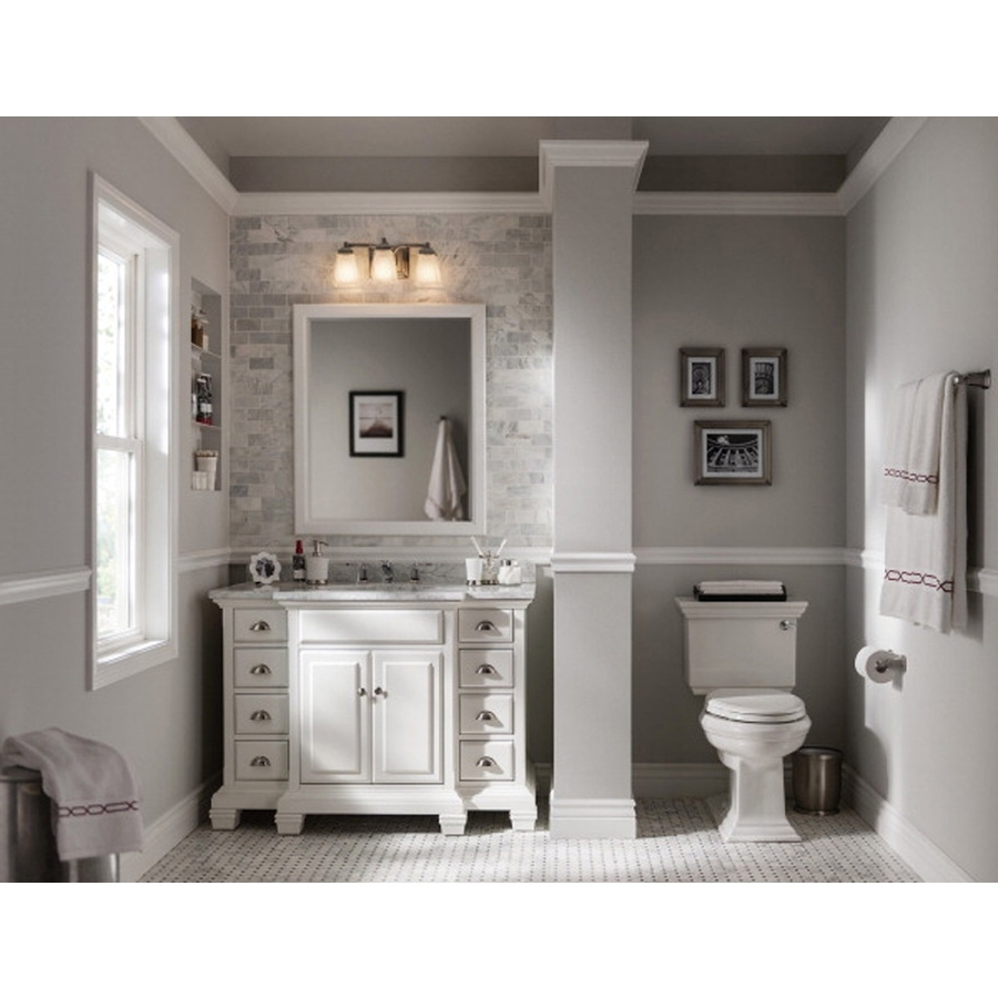 Allen + Roth Vanover 45 In White Single Sink Bathroom Vanity With White Natural Marble Top Allen Roth Bathroom Designs