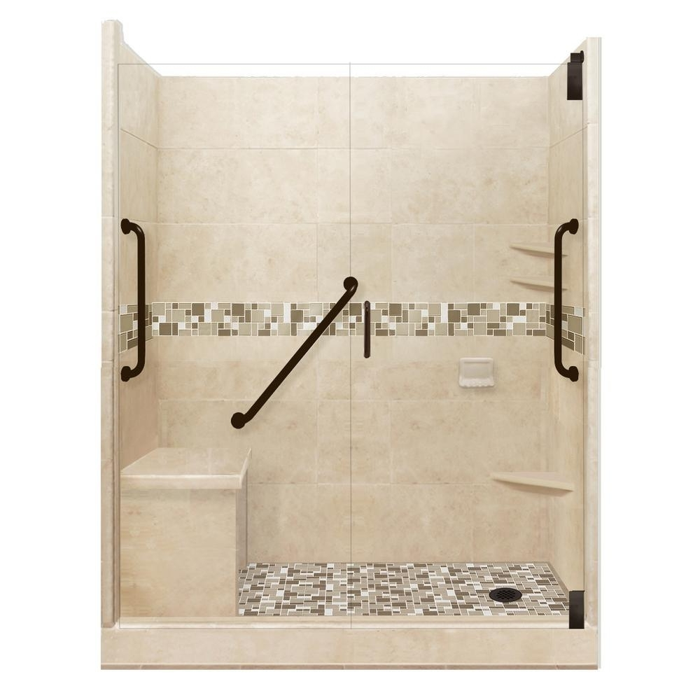 American Bath Factory Tuscany Freedom Grand Hinged 30 In. X 60 In. X 80 In. Left Drain Alcove Shower Kit In Brown Sugar And Old 30+ Bathroom Alcove Shower Ideas