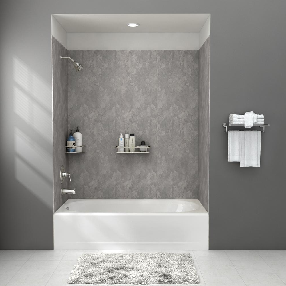 American Standard Passage 32 In. X 60 In. 4 Piece Glue Up Alcove Bath Wall In Gray Concrete P2974Bwt.372 The Home Depot 30+ Bathroom Alcove Shower Ideas