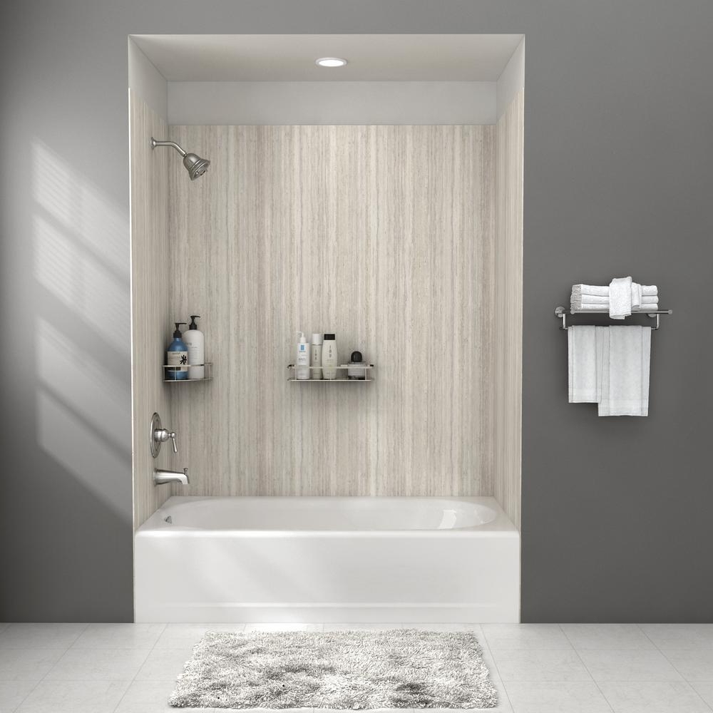 American Standard Passage 32 In. X 60 In. 4 Piece Glue Up Alcove Bath Wall In Pewter Travertine P2974Bwt.370 The Home Depot Bathroom Alcove Shower