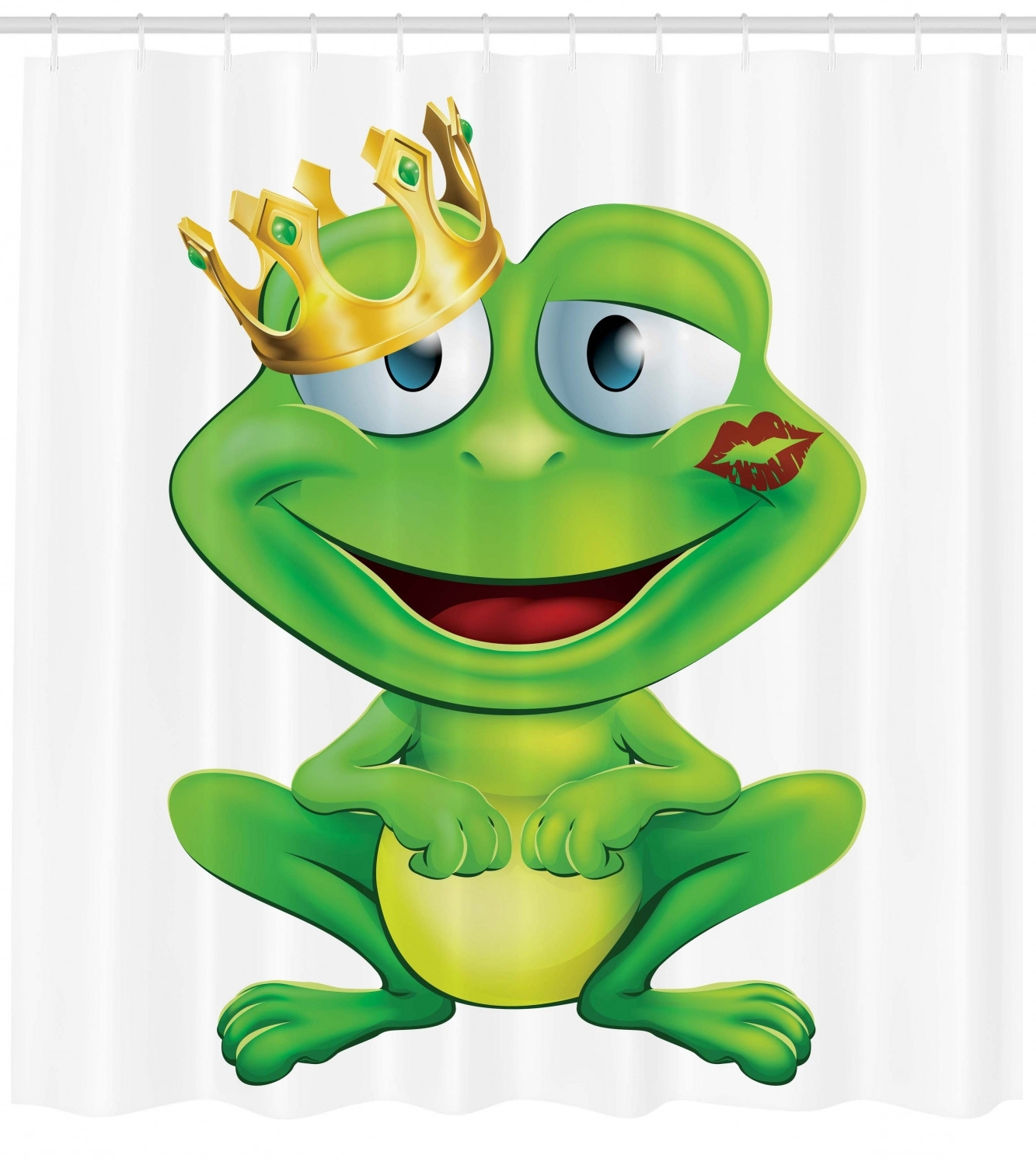 Animal Decor Cute Frog Prince Cartoon Character With Gold Crown And Lipstick Mark On His Lips Love Print, Bathroom Accessories, 69W X 84L Inches Extra Frog Bathroom Decorating