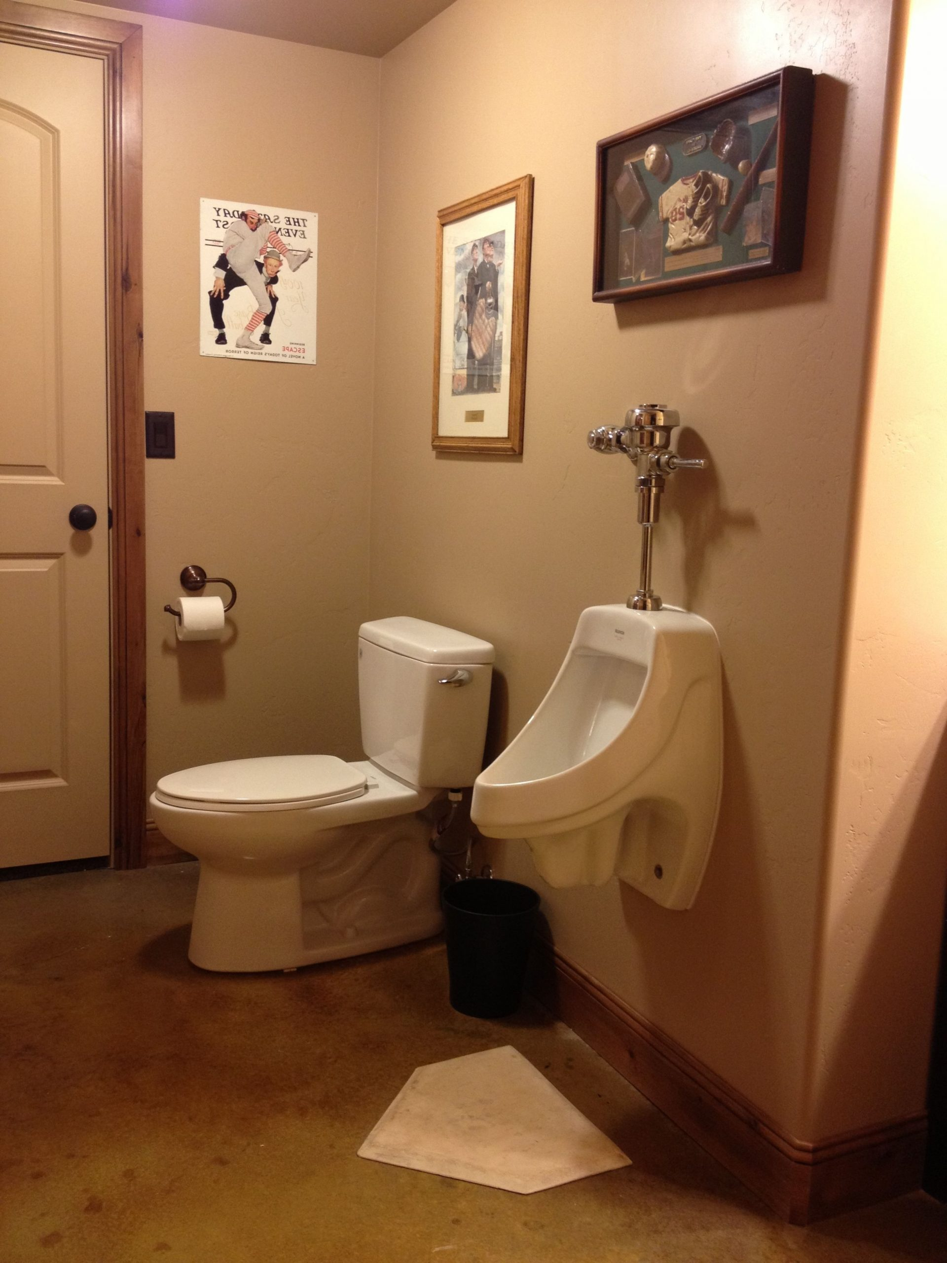 Antique Baseball Themed Bathroom. Yes, This Is A Home Plate Baseball Bathroom