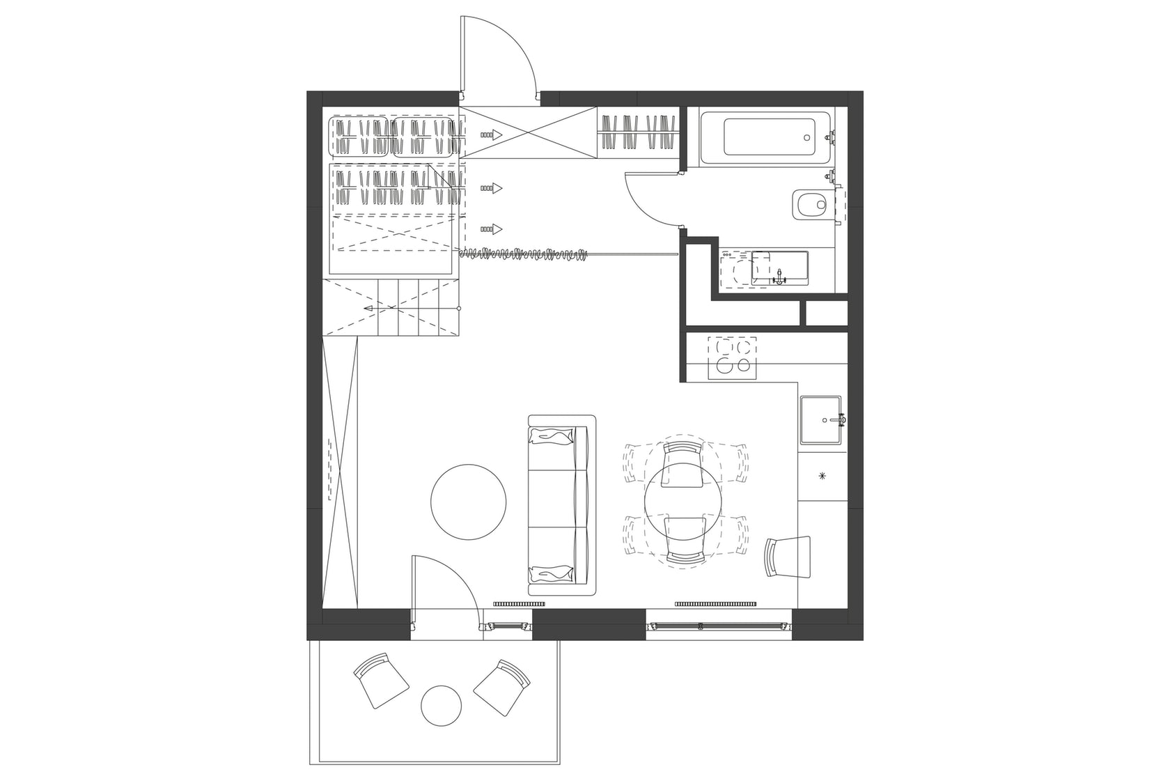 Architectural Drawings: 10 Clever Plans For Tiny Apartments Micro Apartment Design Plans