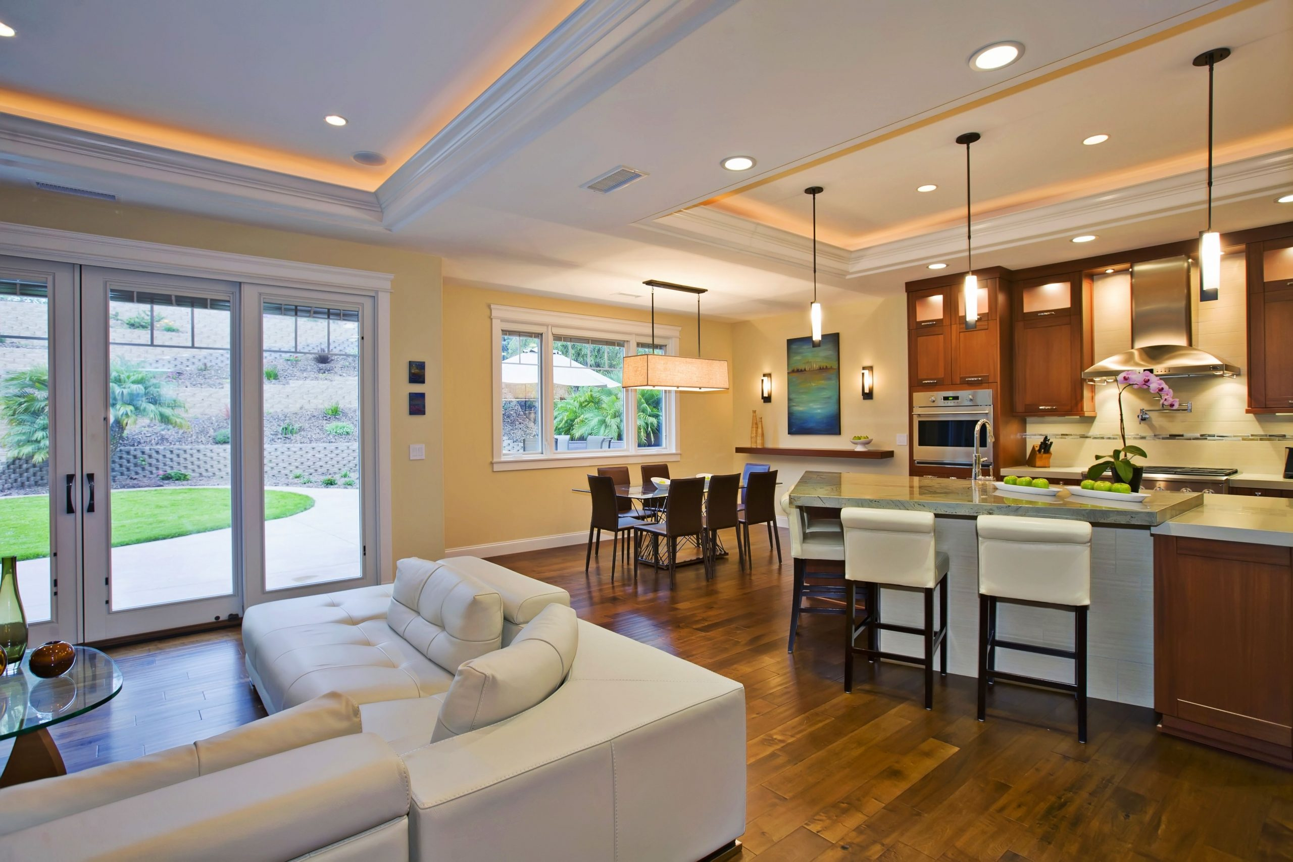 As An Imaginative Alternative To Dropped Beams Or A Soffit 40+ Soffit Lighting Living Room Ideas