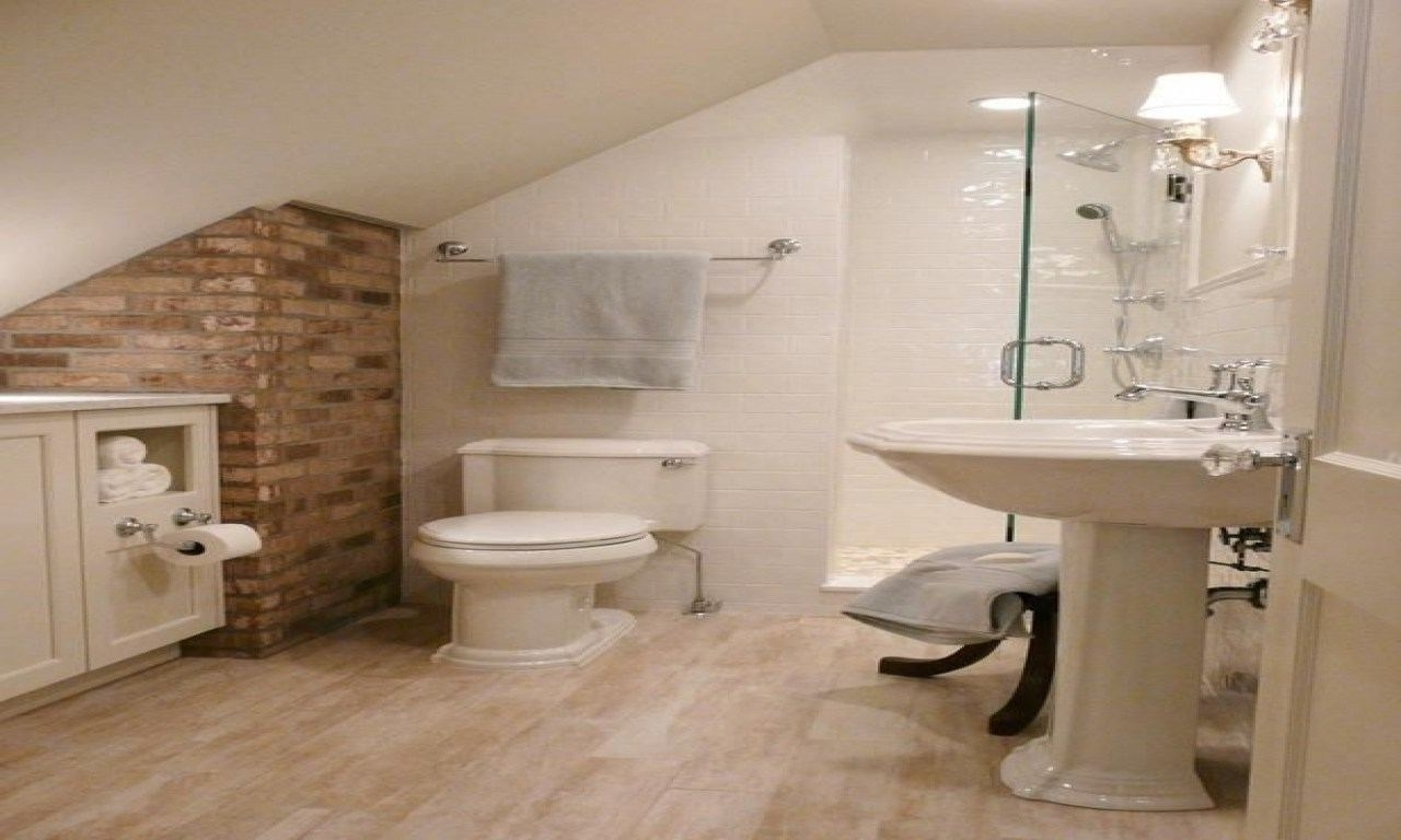 Attic Bathroom Ideas Sloped Ceiling Small Bathroom With Sloped Ceiling