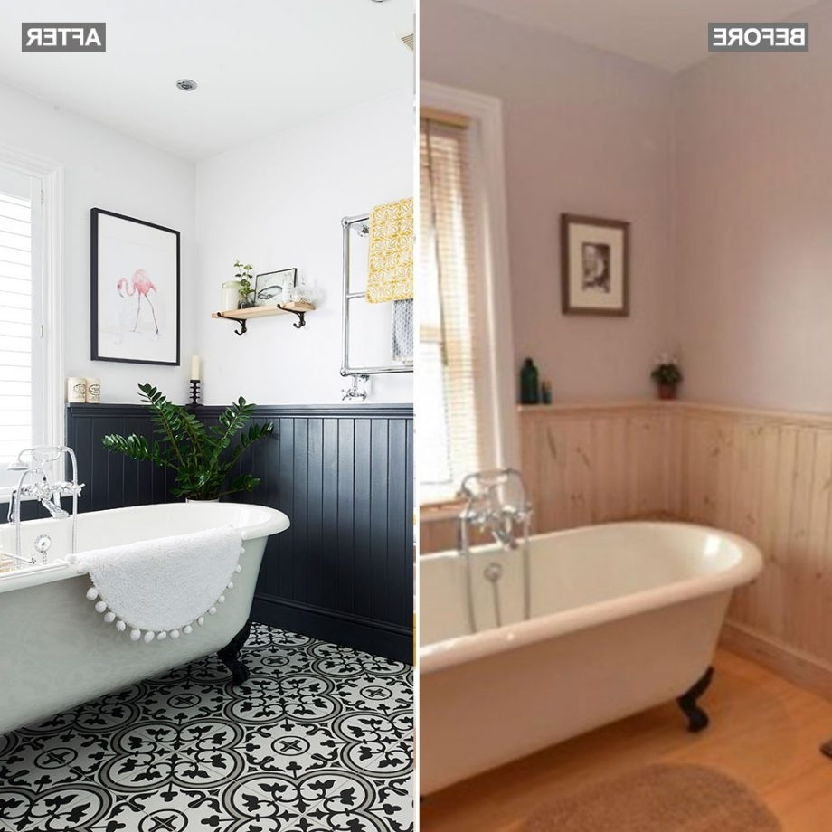 Bathroom Makeover With Roll Top Bath Statement Floor Tiles Small Bathroom Panelling