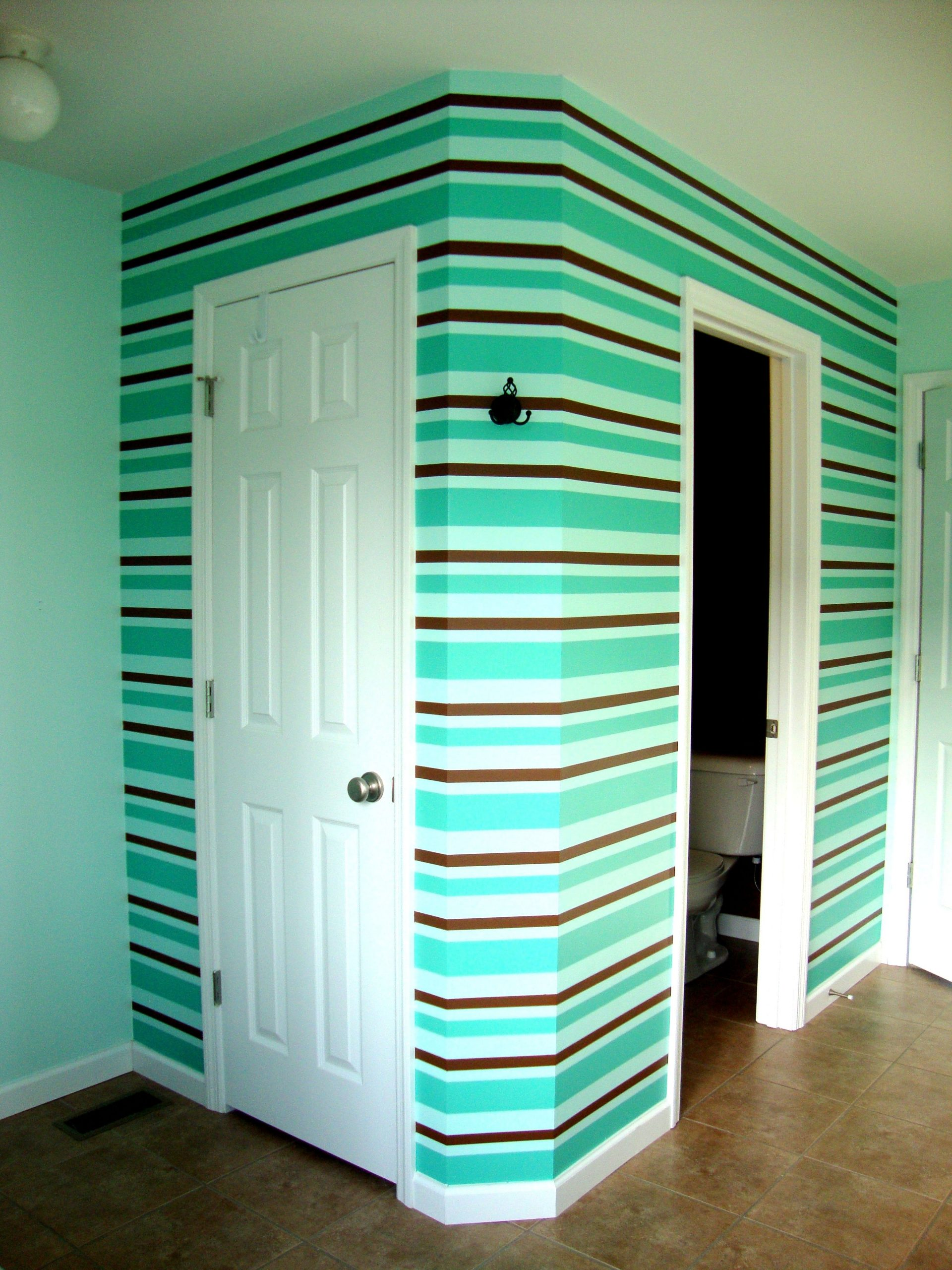 Bathroom Wallpainted Strips With Three Colorstips 30+ Frog Tape Bathroom Inspirations