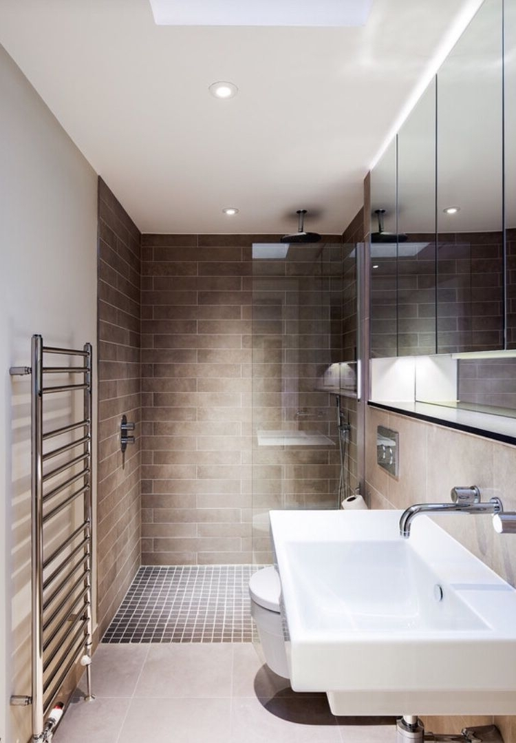 Beautifully Simple Modern Bathroom With Walk In Shower. Deep Narrow Ensuite Bathroom