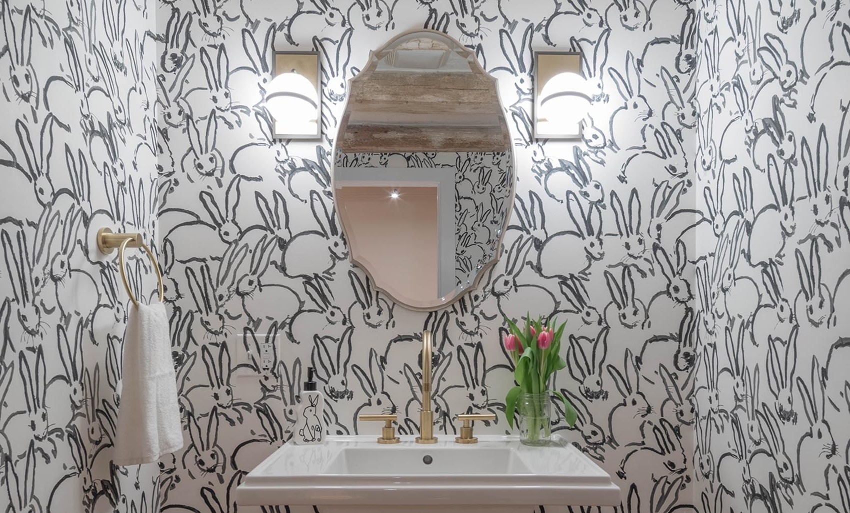 Before & After: The Cutest Bunny Wallpaper We'Ve Ever Seen Downstairs Bathroom Wallpaper