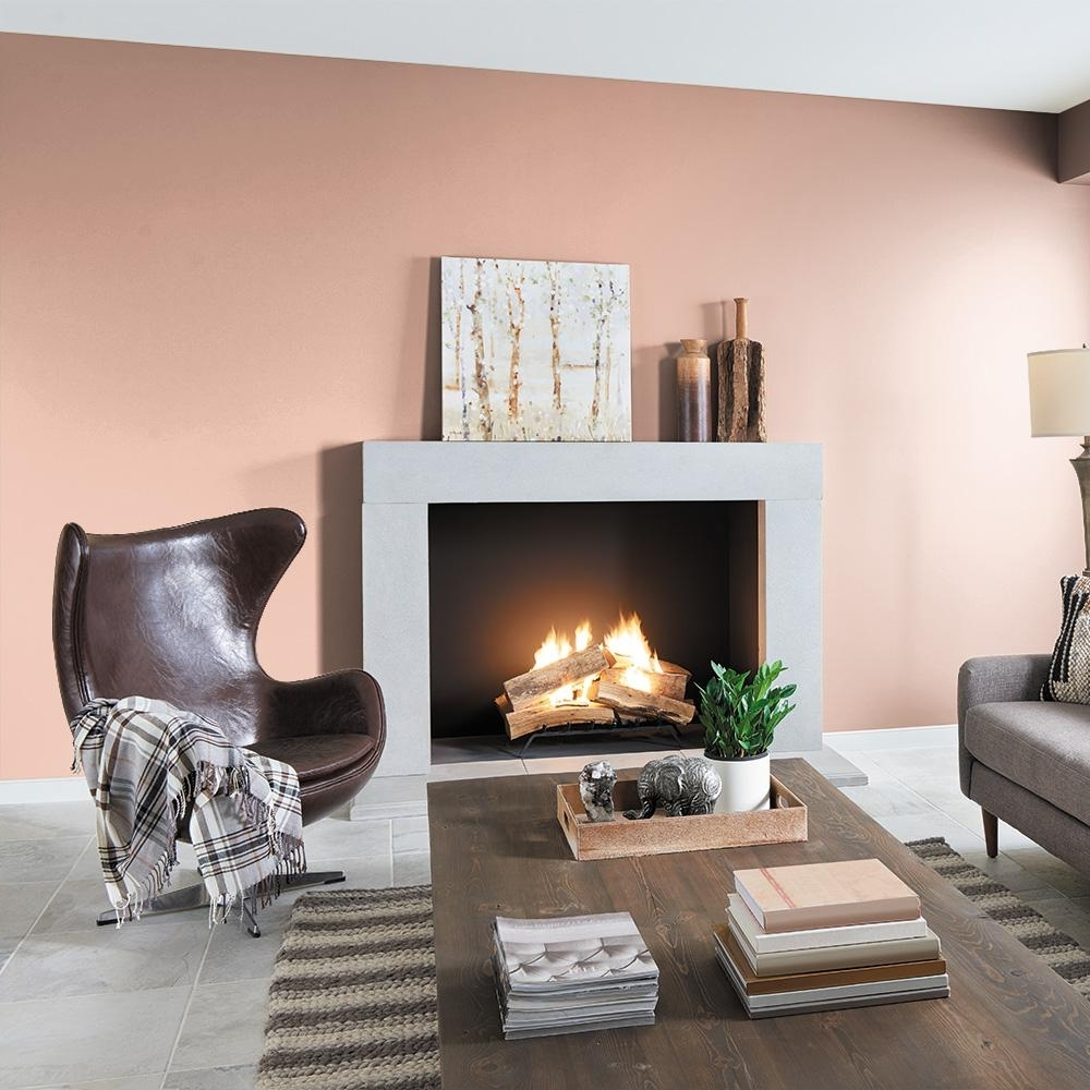 Behr Premium Plus 8 Oz. #M190 3 Pink Abalone Flat Interior/Exterior Paint And Primer In One Sample Abalone Paint Color Living Room