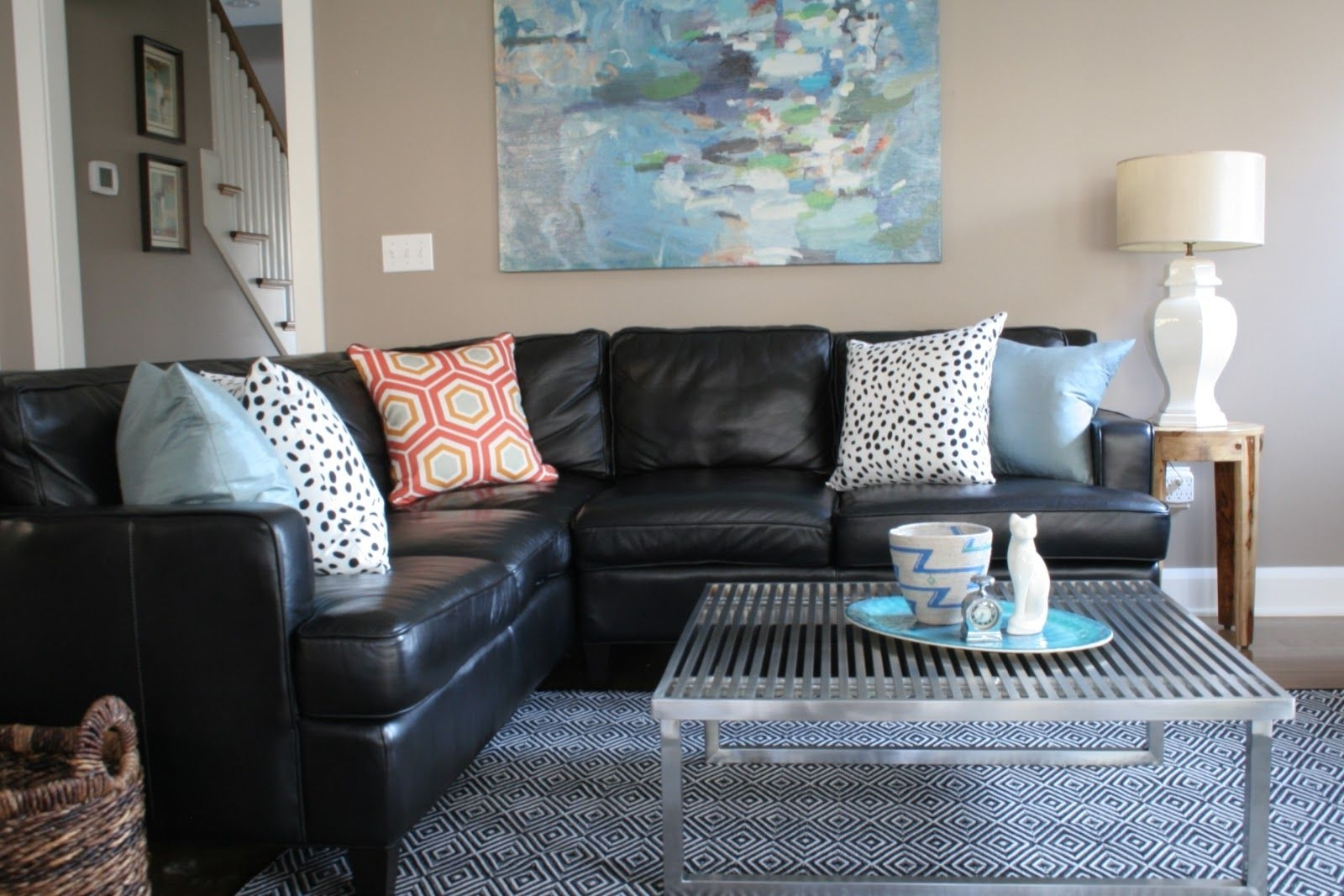 Black And White Pillows | Black Couch Living Room, Black 30+ Living Room Decorating Black Leather Couch Inspirations