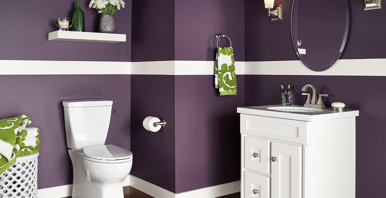 Bold And Dramatic Bathroom Ideas And Inspiration | Behr Bathroom Paint Color Behr